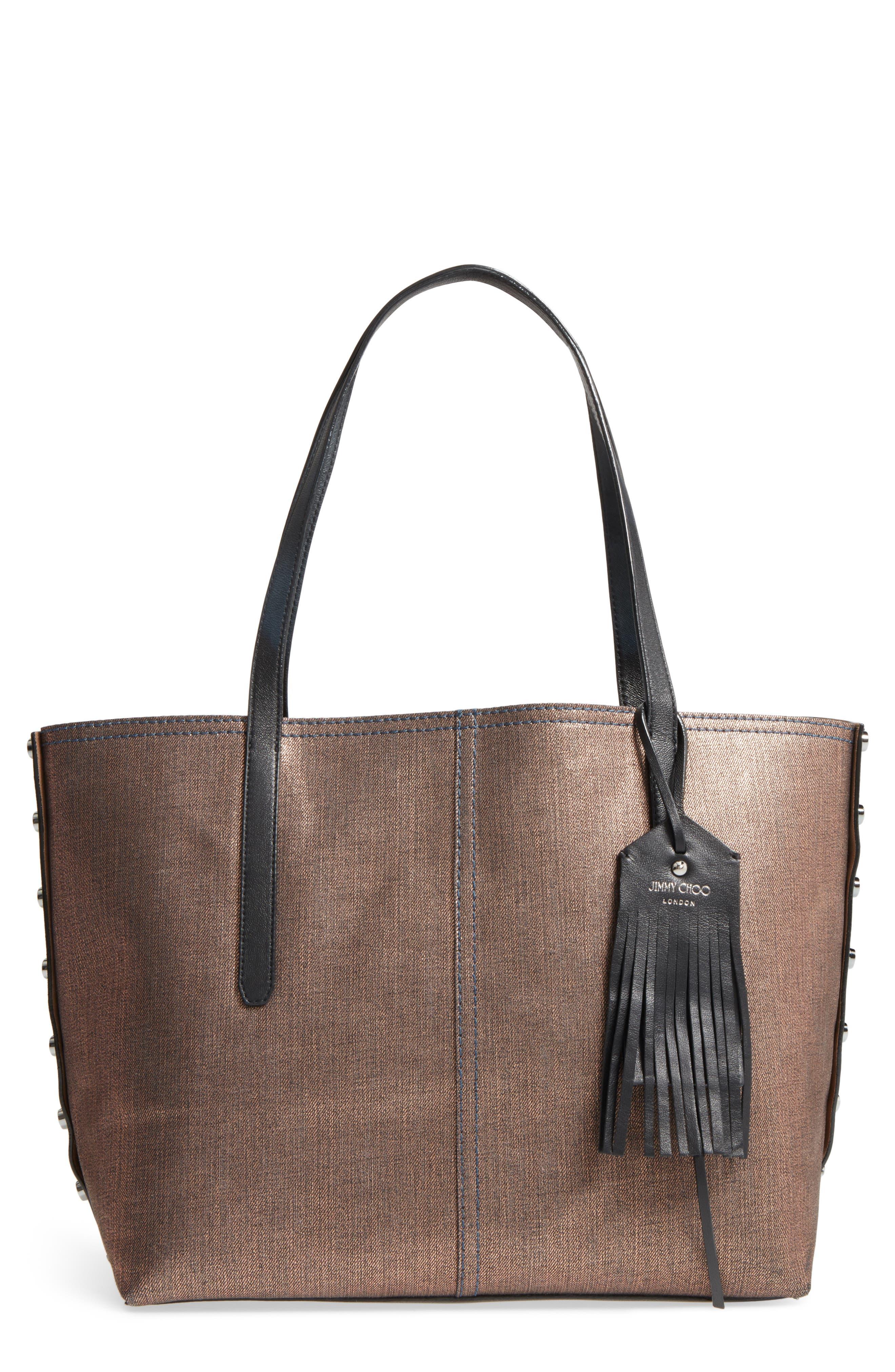 Twist East West Denim & Leather Tote,                         Main,                         color, Bronzer/ Black