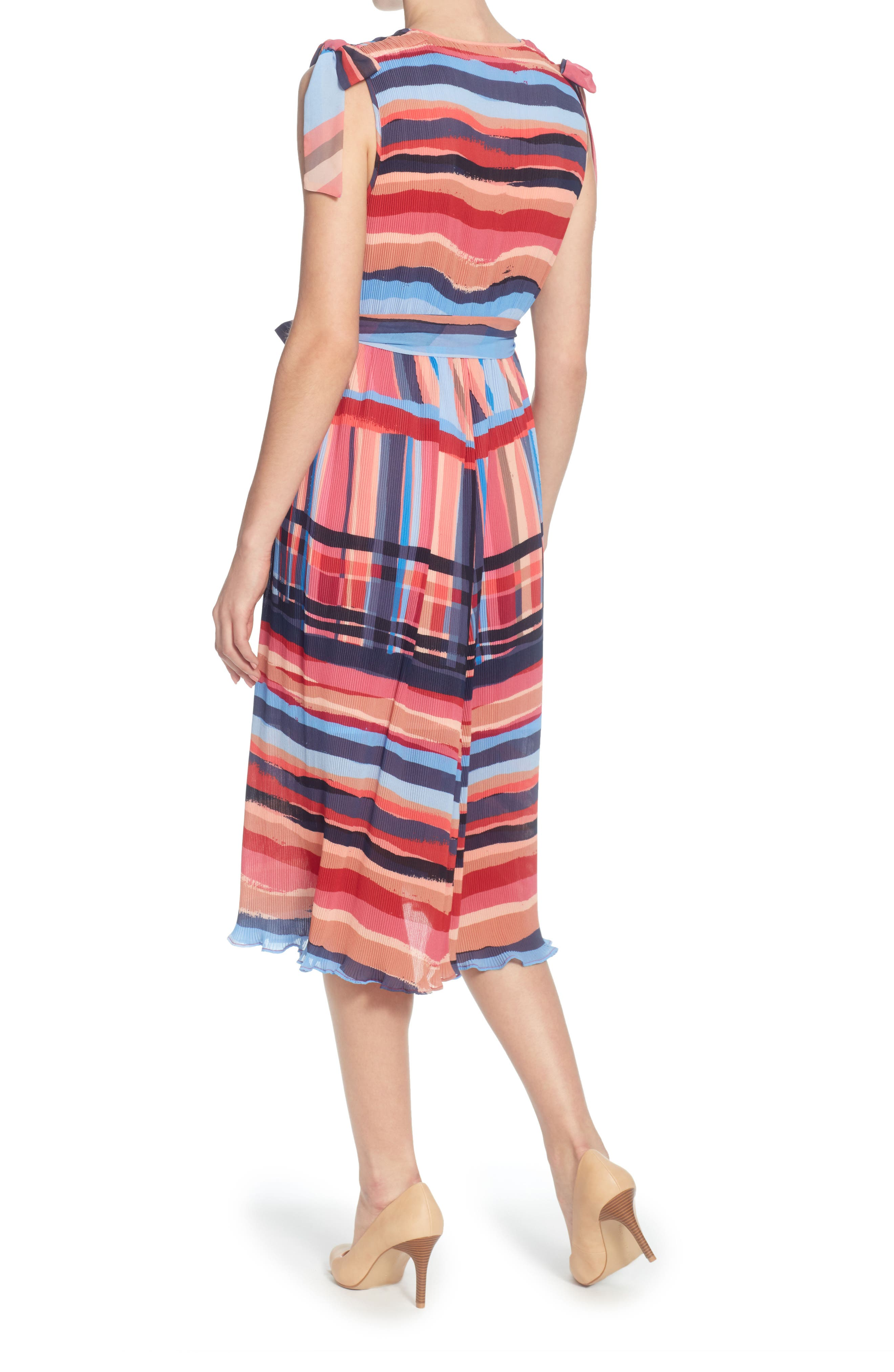 Micropleat Dress,                             Alternate thumbnail 2, color,                             Washed Stripe