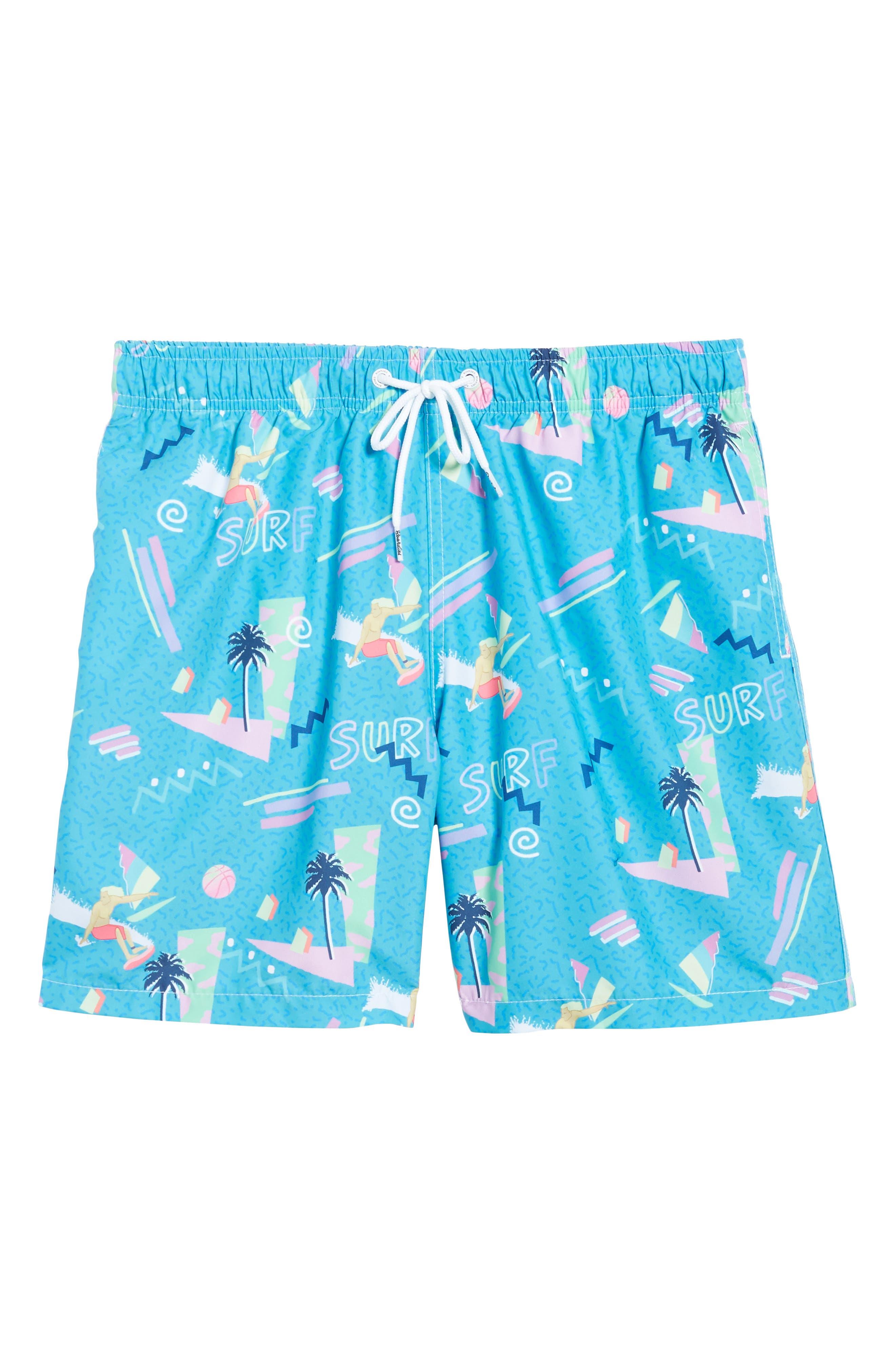 x Yoko Honda Print Swim Shorts,                             Alternate thumbnail 6, color,                             Blue