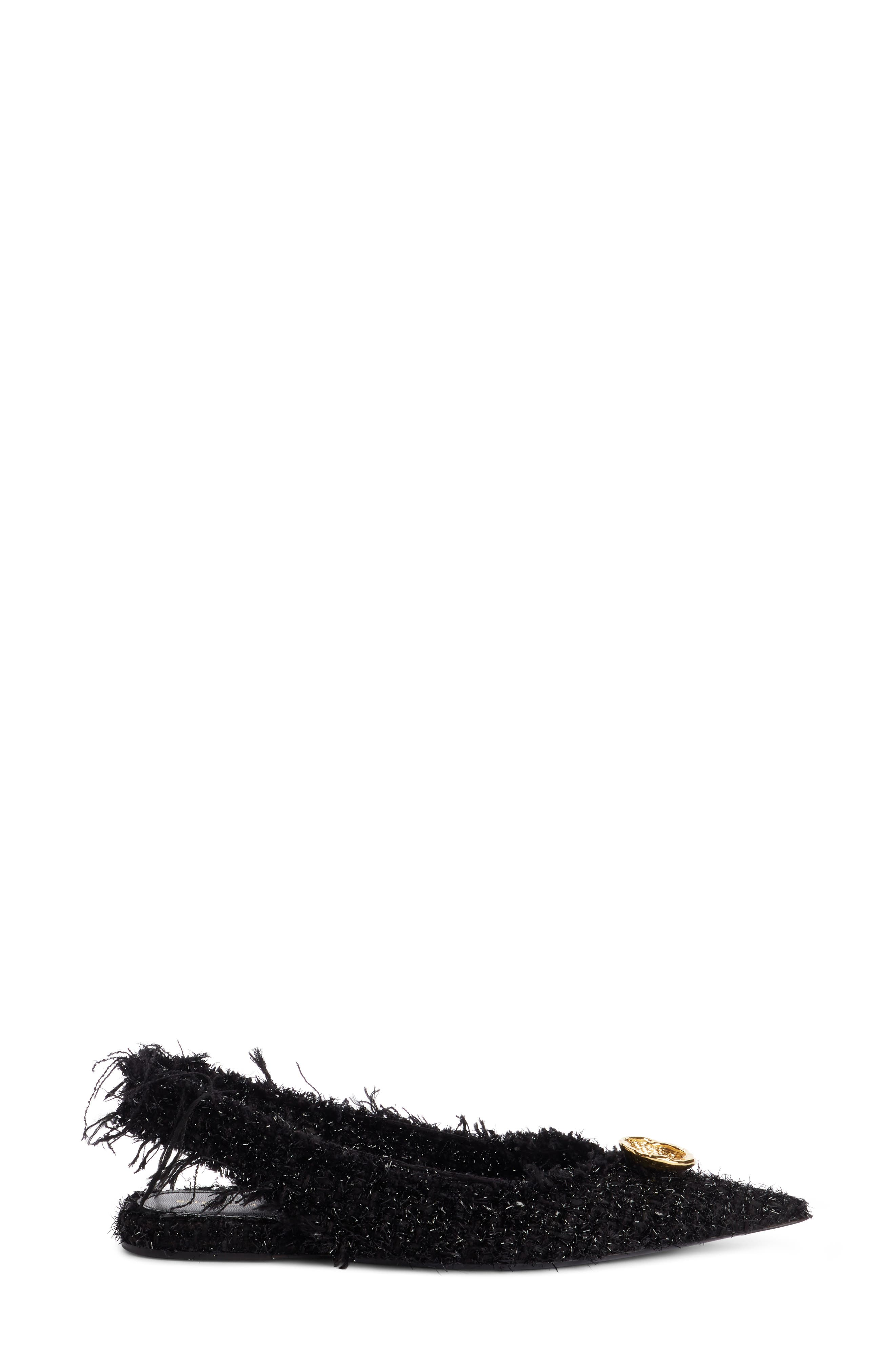Tweed Pointy Toe Slingback Flat,                             Alternate thumbnail 4, color,                             Black