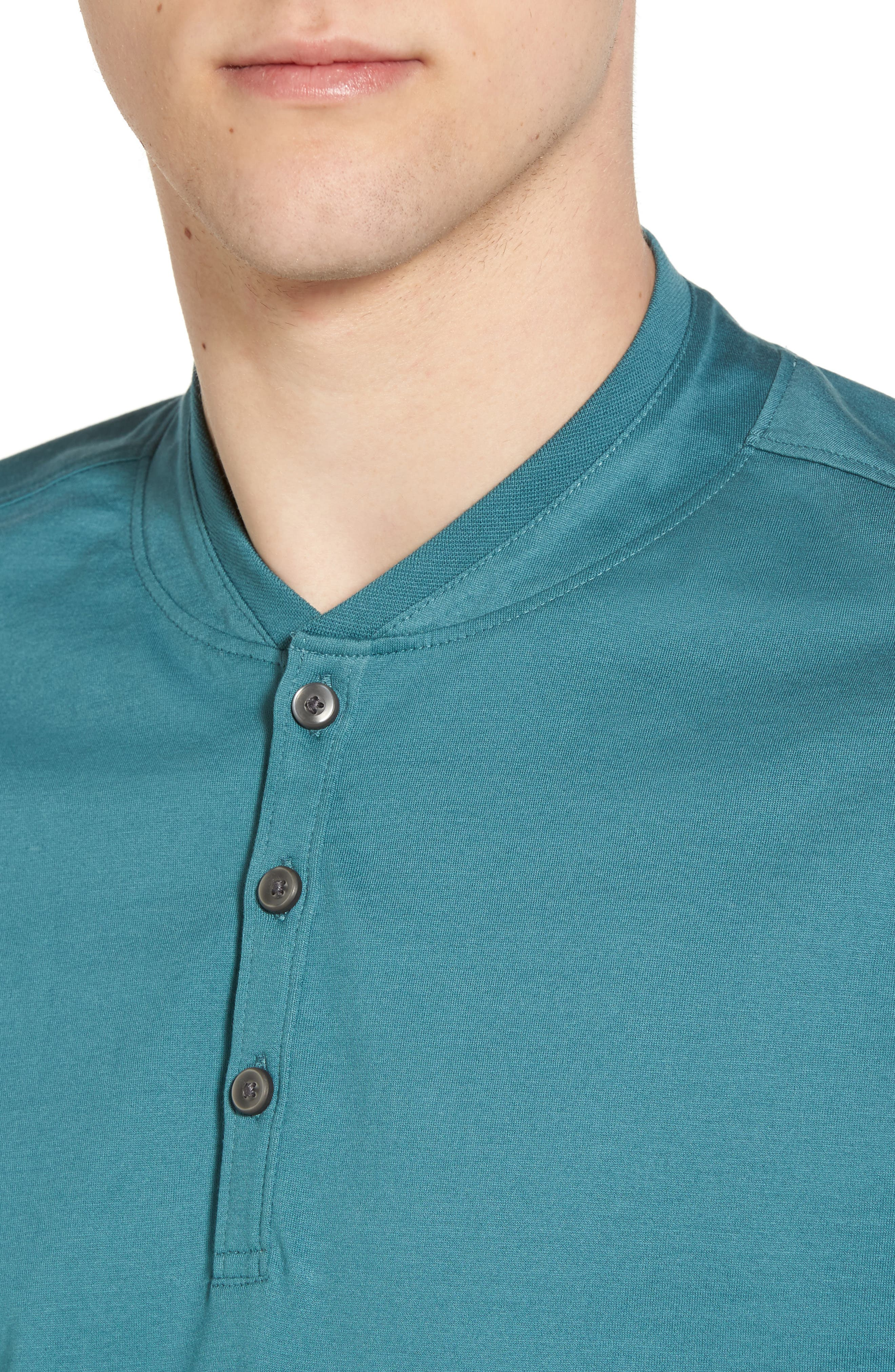 Trim Fit Fashion Polo,                             Alternate thumbnail 4, color,                             Teal Hydro
