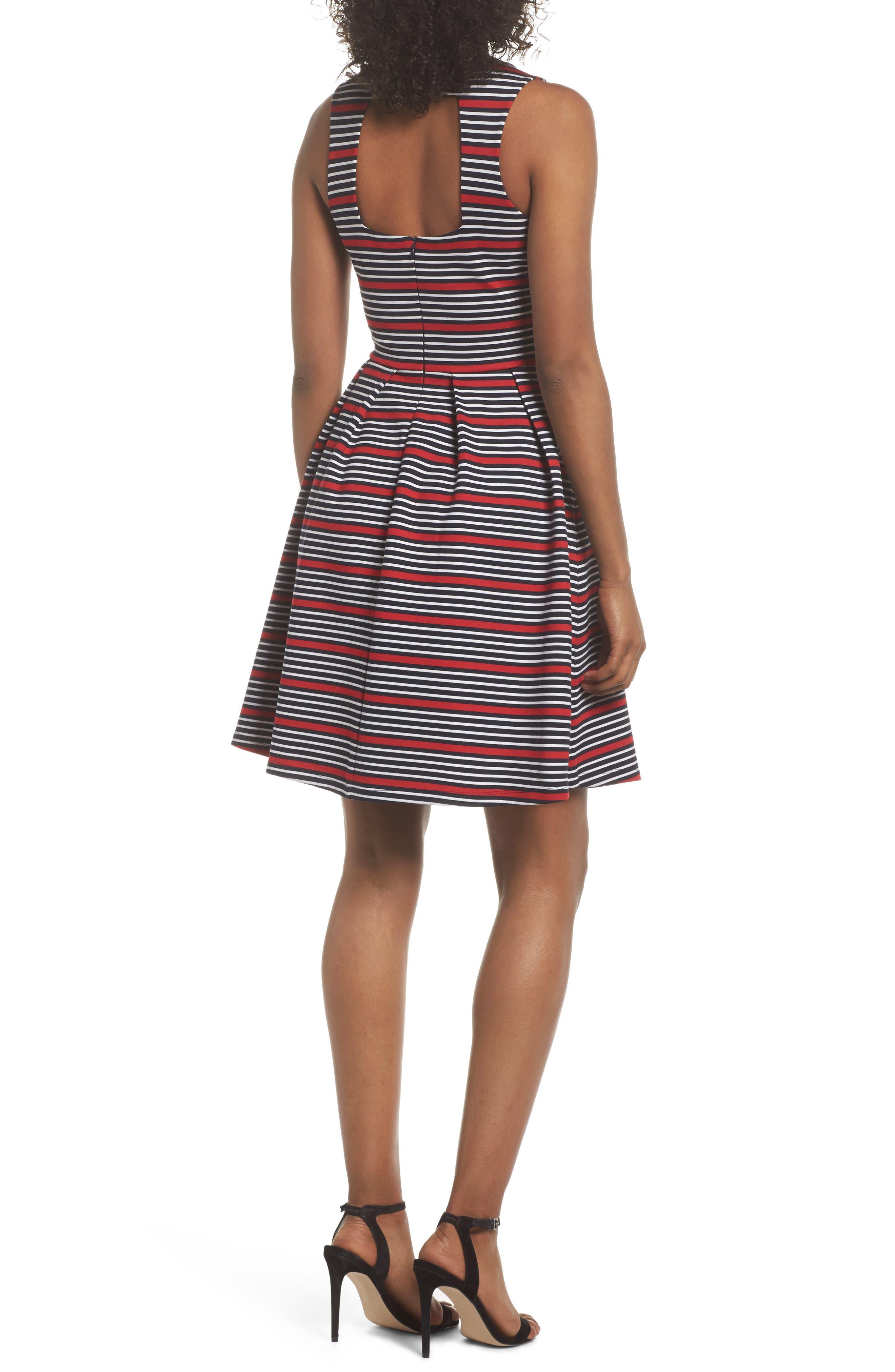 Scarlette Stripe Fit & Flare Dress,                             Alternate thumbnail 2, color,                             Navy/ Red/ White Stripe
