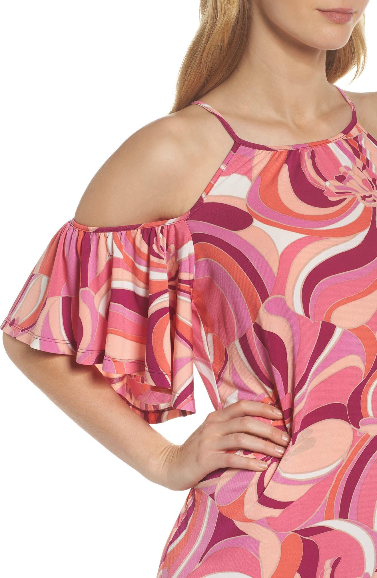 Viola Cold Shoulder Dress,                             Alternate thumbnail 4, color,                             Purple Dahlia