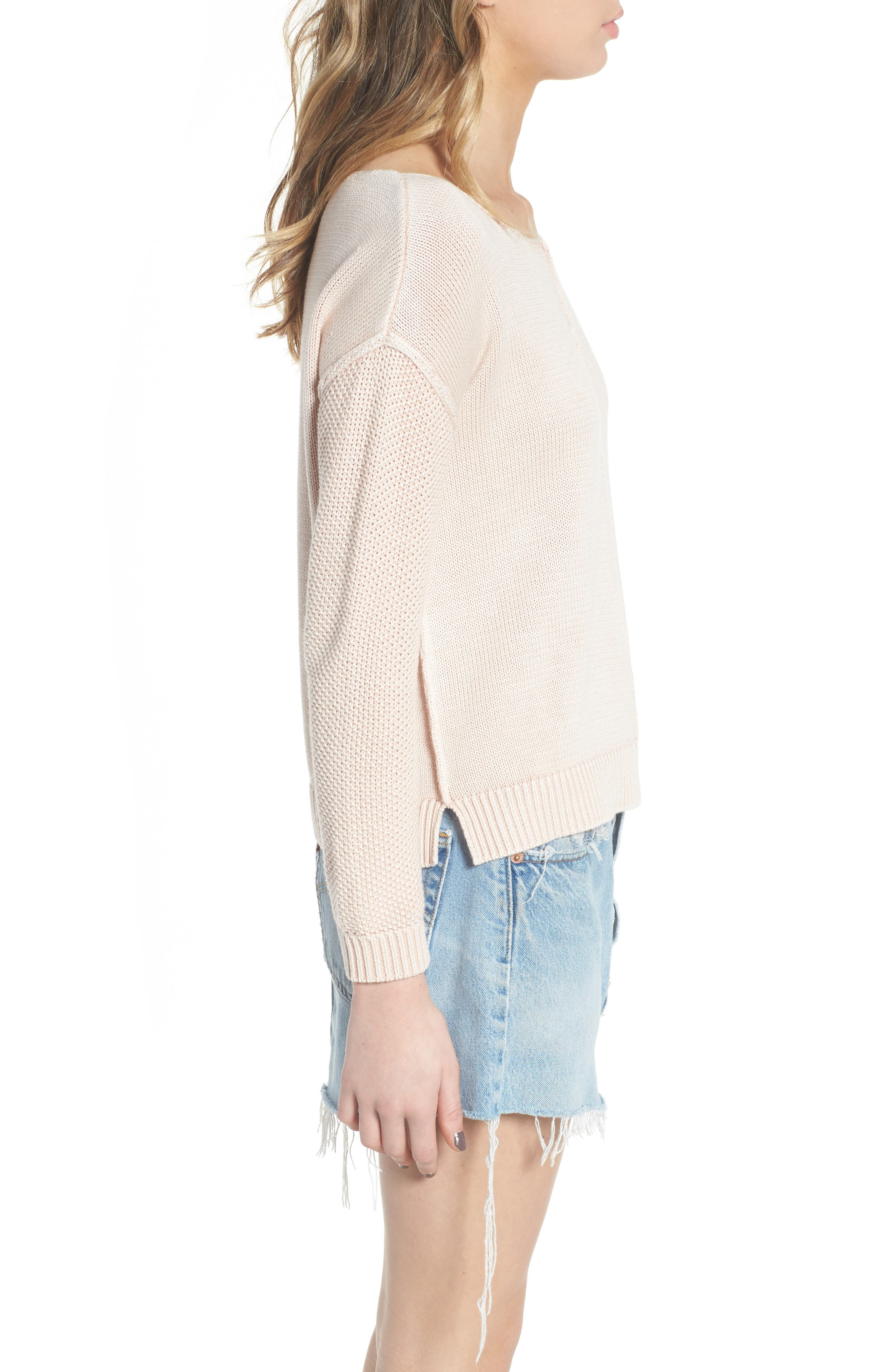 Erin Knit Sweater,                             Alternate thumbnail 3, color,                             Sand Washed Blush