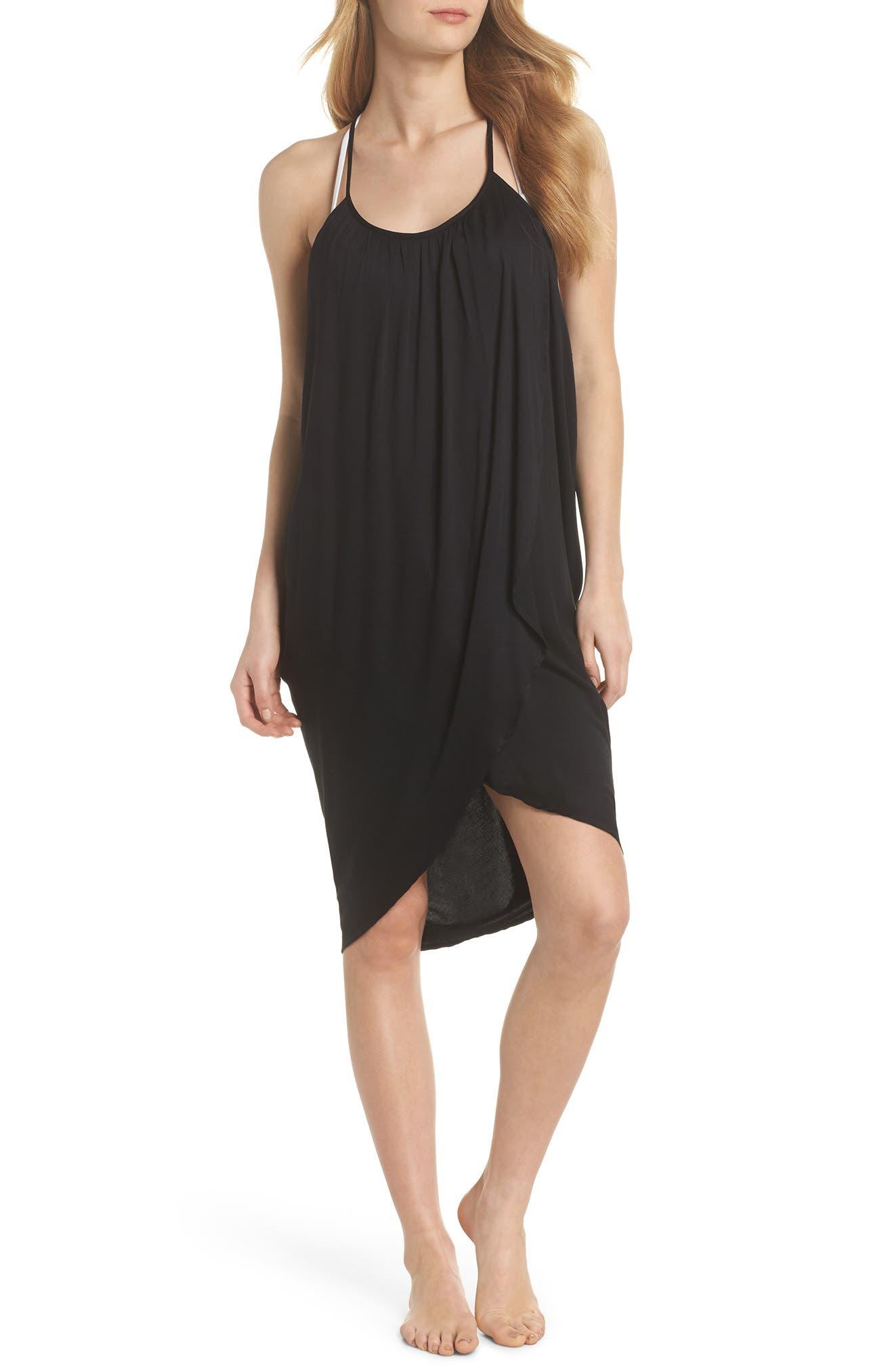 California Core Pali Wrap Cover-Up Dress,                             Main thumbnail 1, color,                             Black