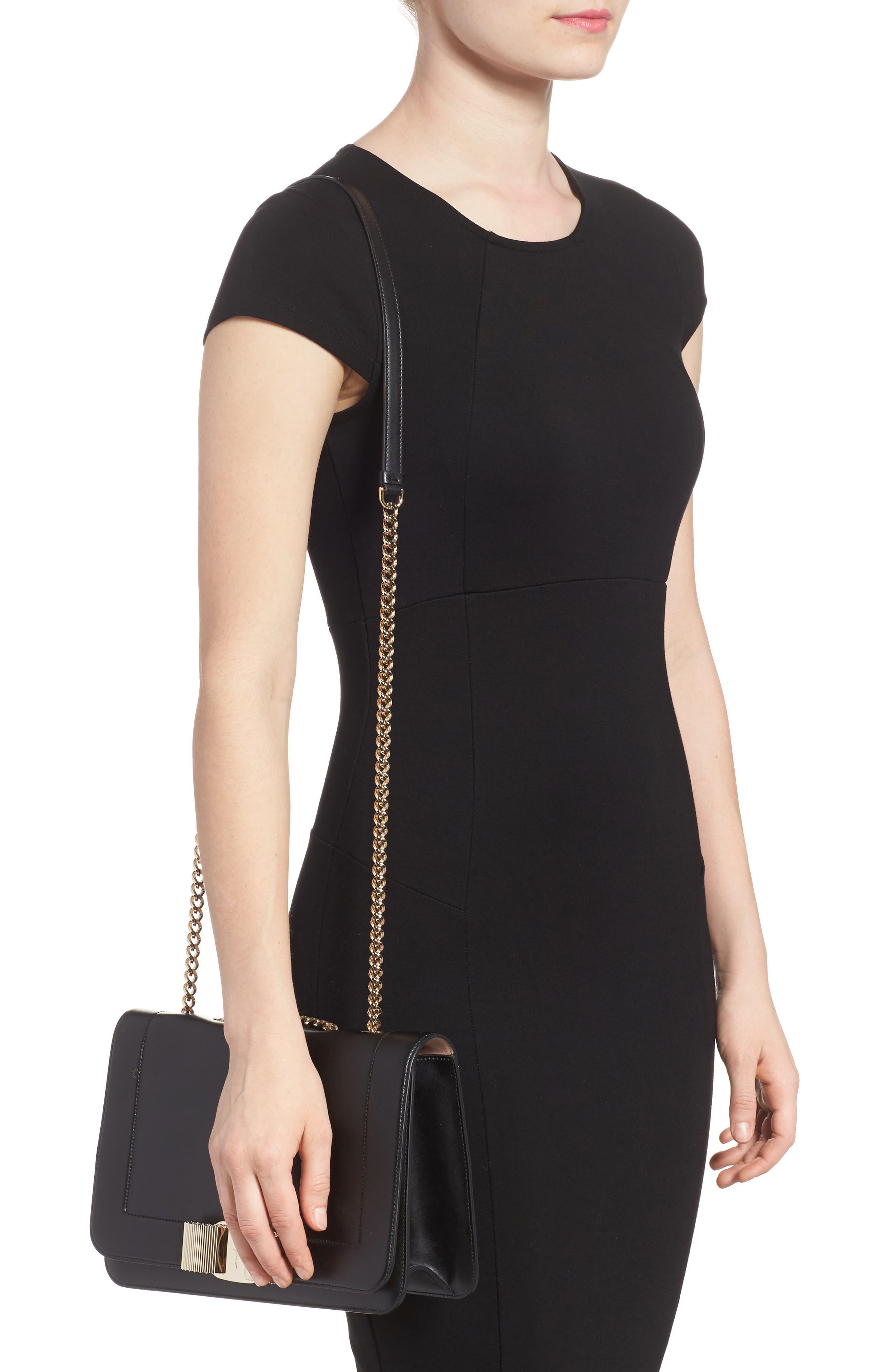 Vara Leather Shoulder Bag,                             Alternate thumbnail 2, color,                             Nero/ Bonbon