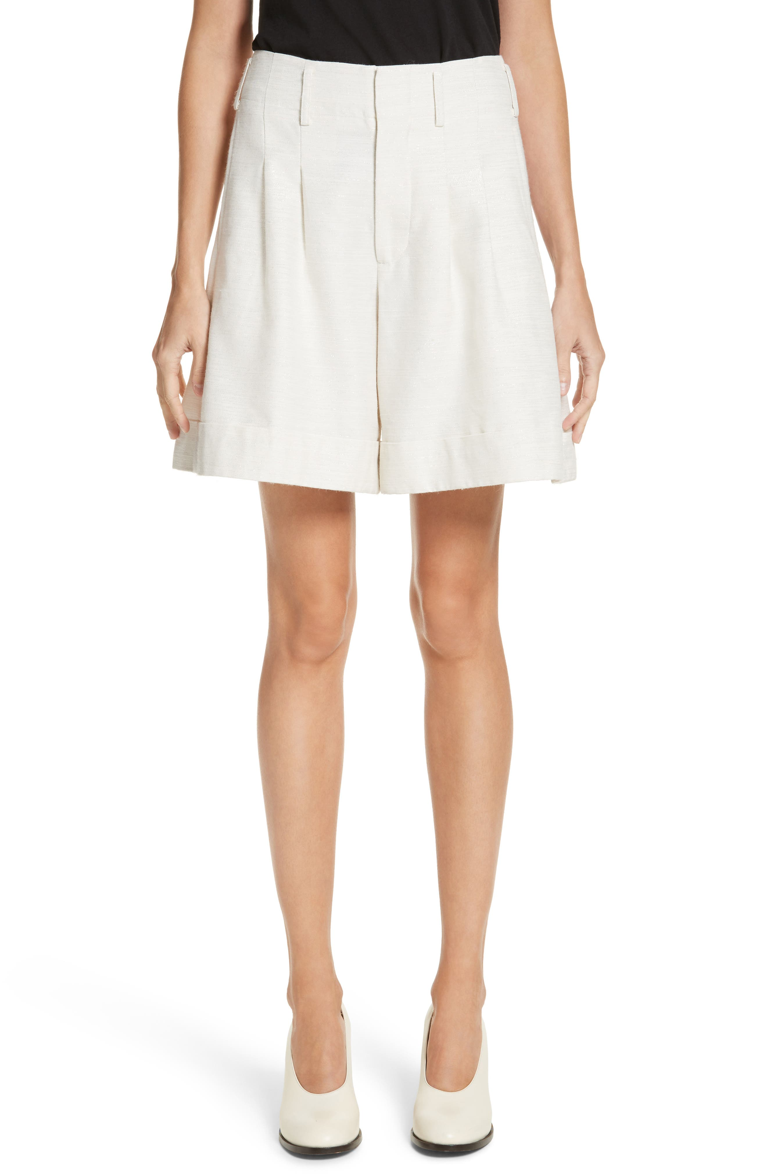 Sparkle Woven Wide Leg Shorts,                         Main,                         color, Ivory