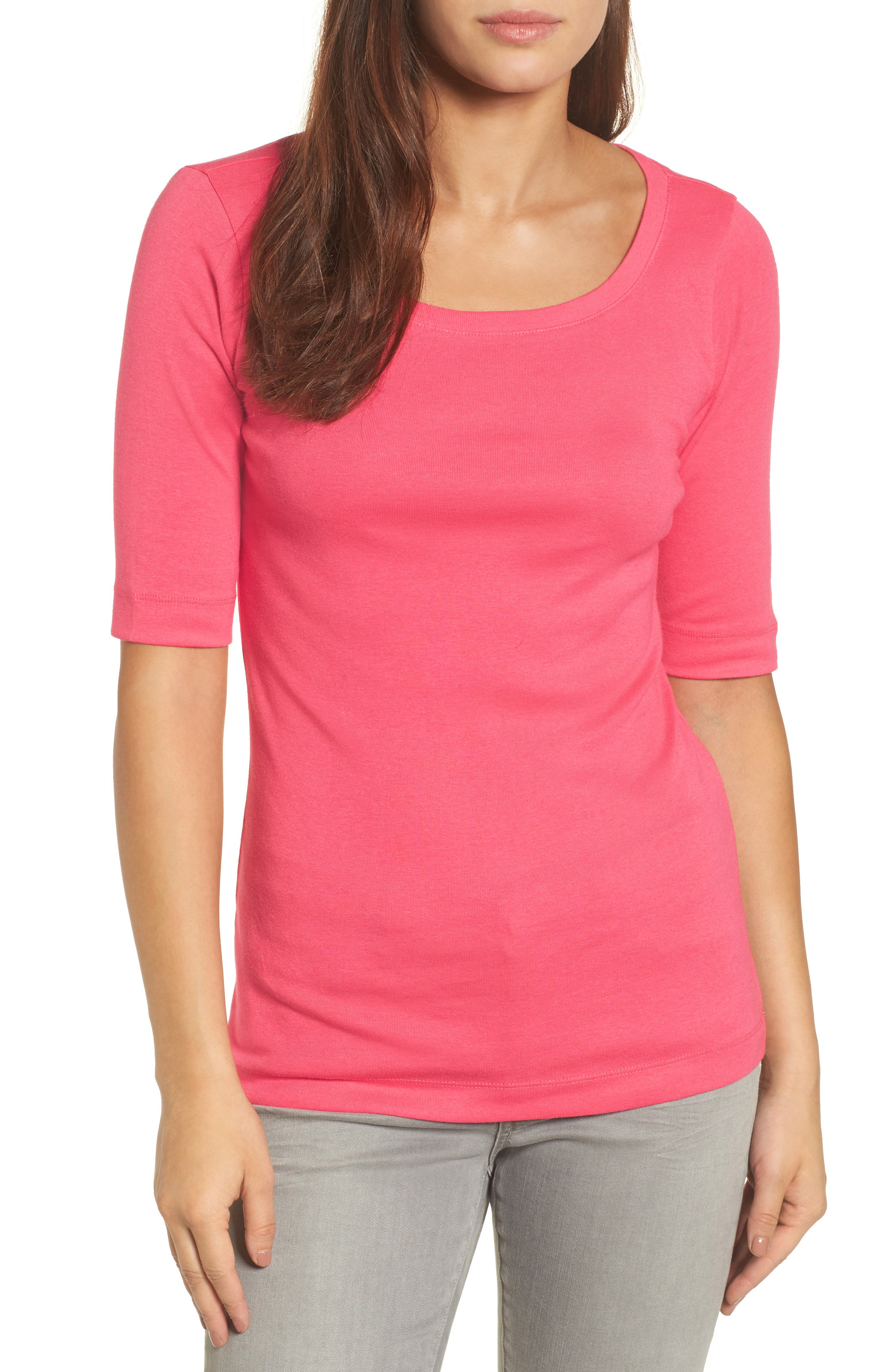 Ballet Neck Cotton & Modal Knit Elbow Sleeve Tee,                             Main thumbnail 1, color,                             Pink Ribbon
