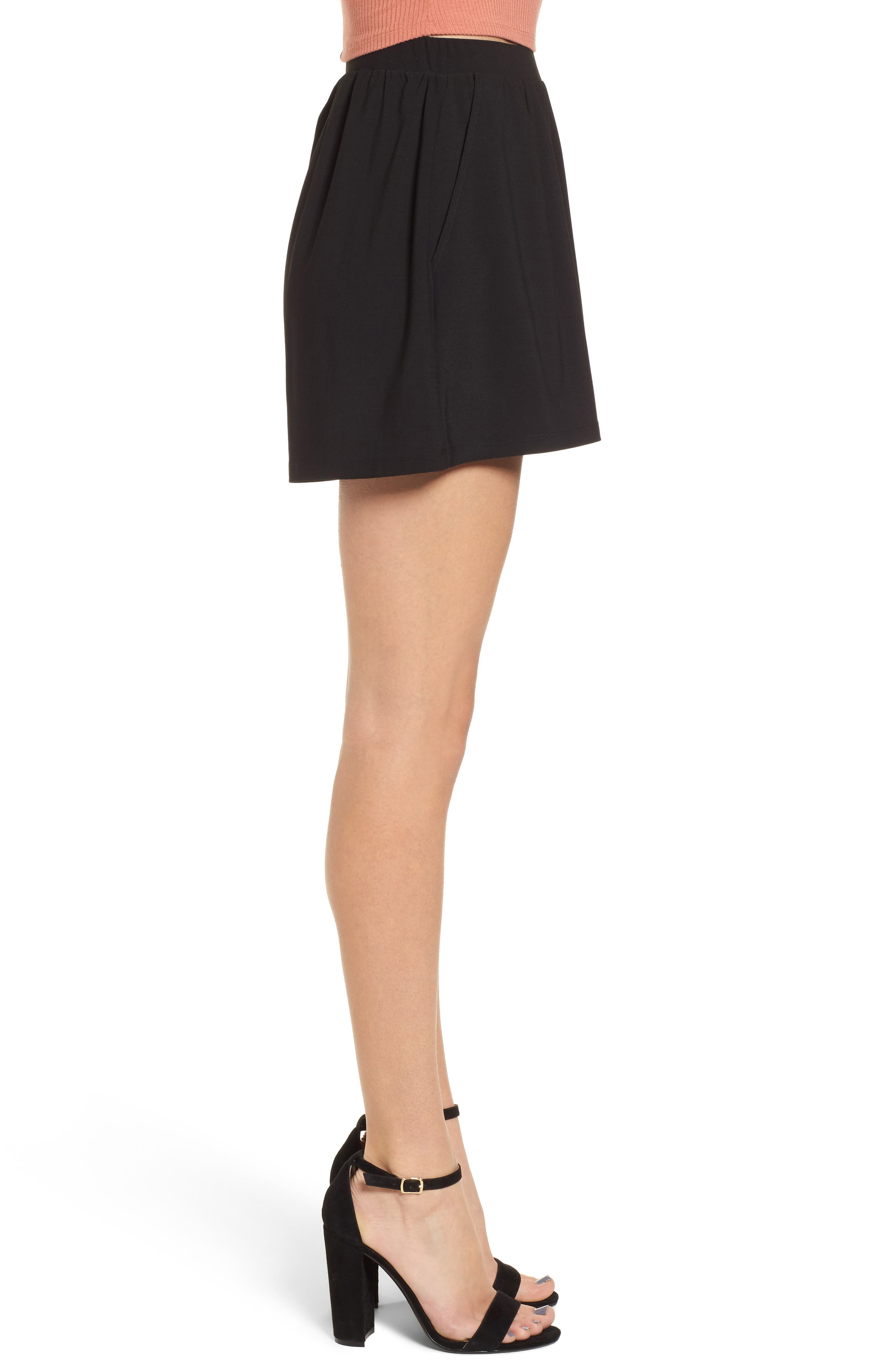 Pleat Front Shorts,                             Alternate thumbnail 3, color,                             Black