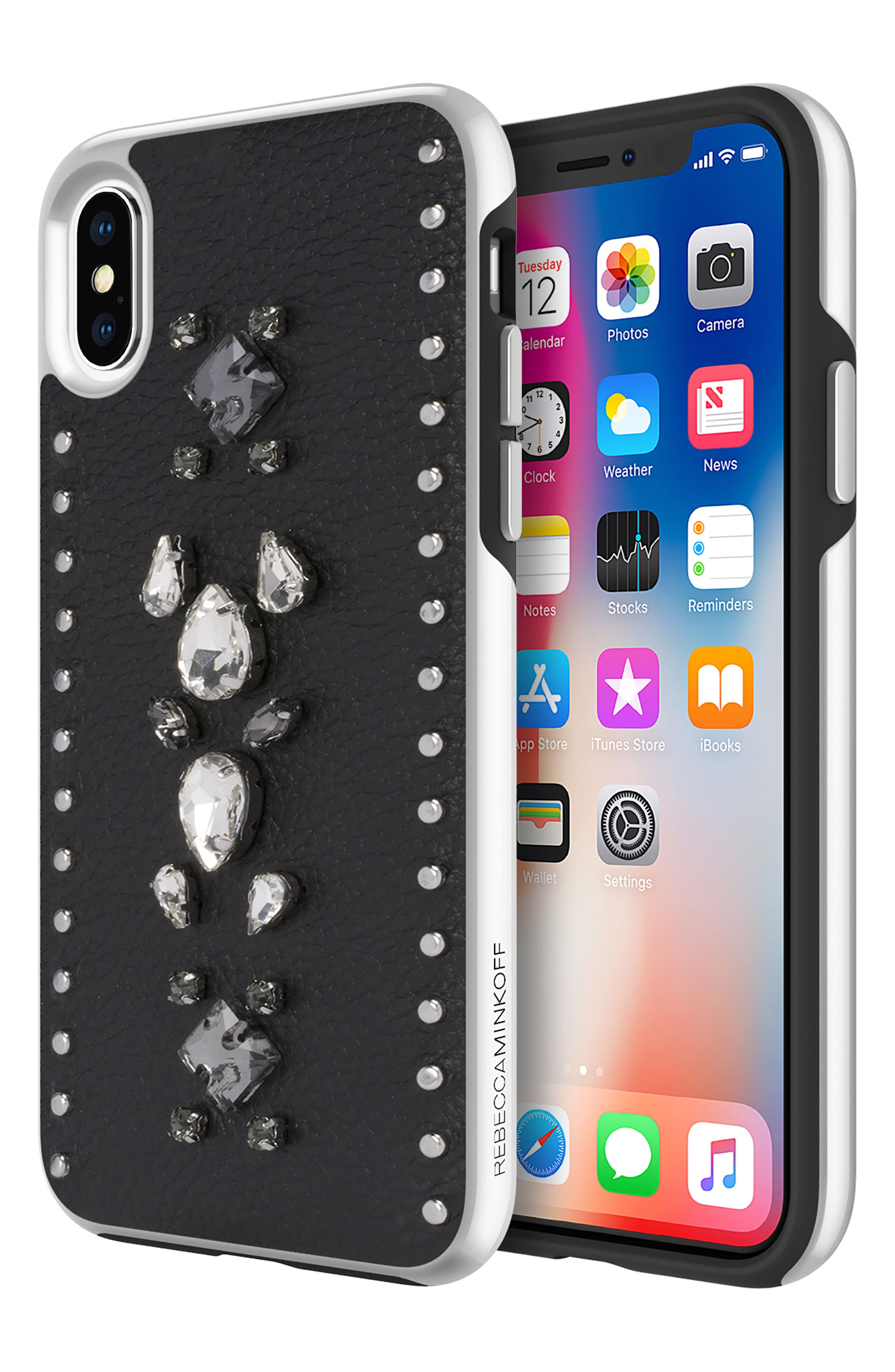 Inlay Jem Leather iPhone X Case,                             Alternate thumbnail 3, color,                             Multi Gems/ Studs/ Black