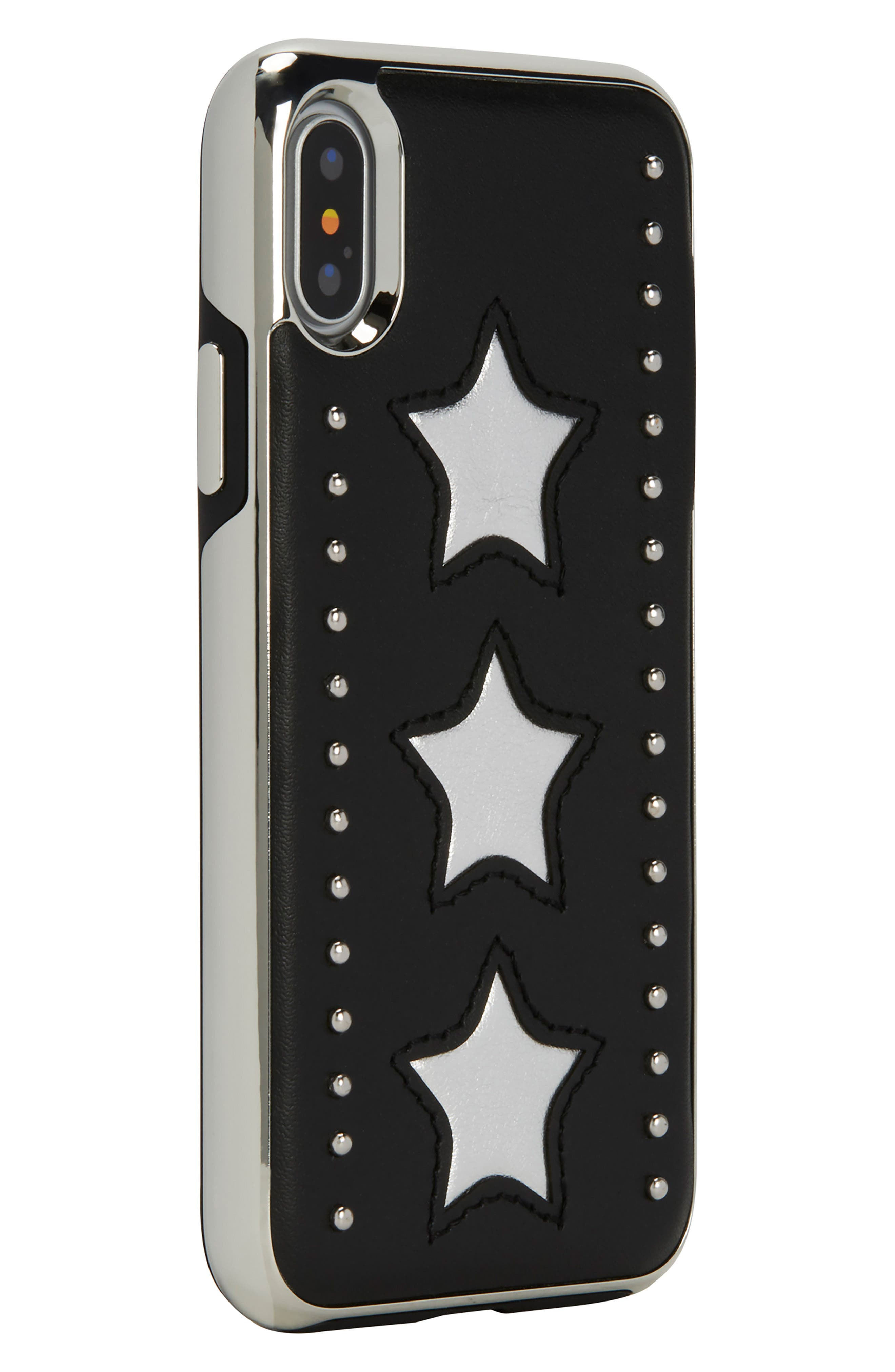 Leather Star iPhone X Case,                             Alternate thumbnail 4, color,                             Silver/ Black