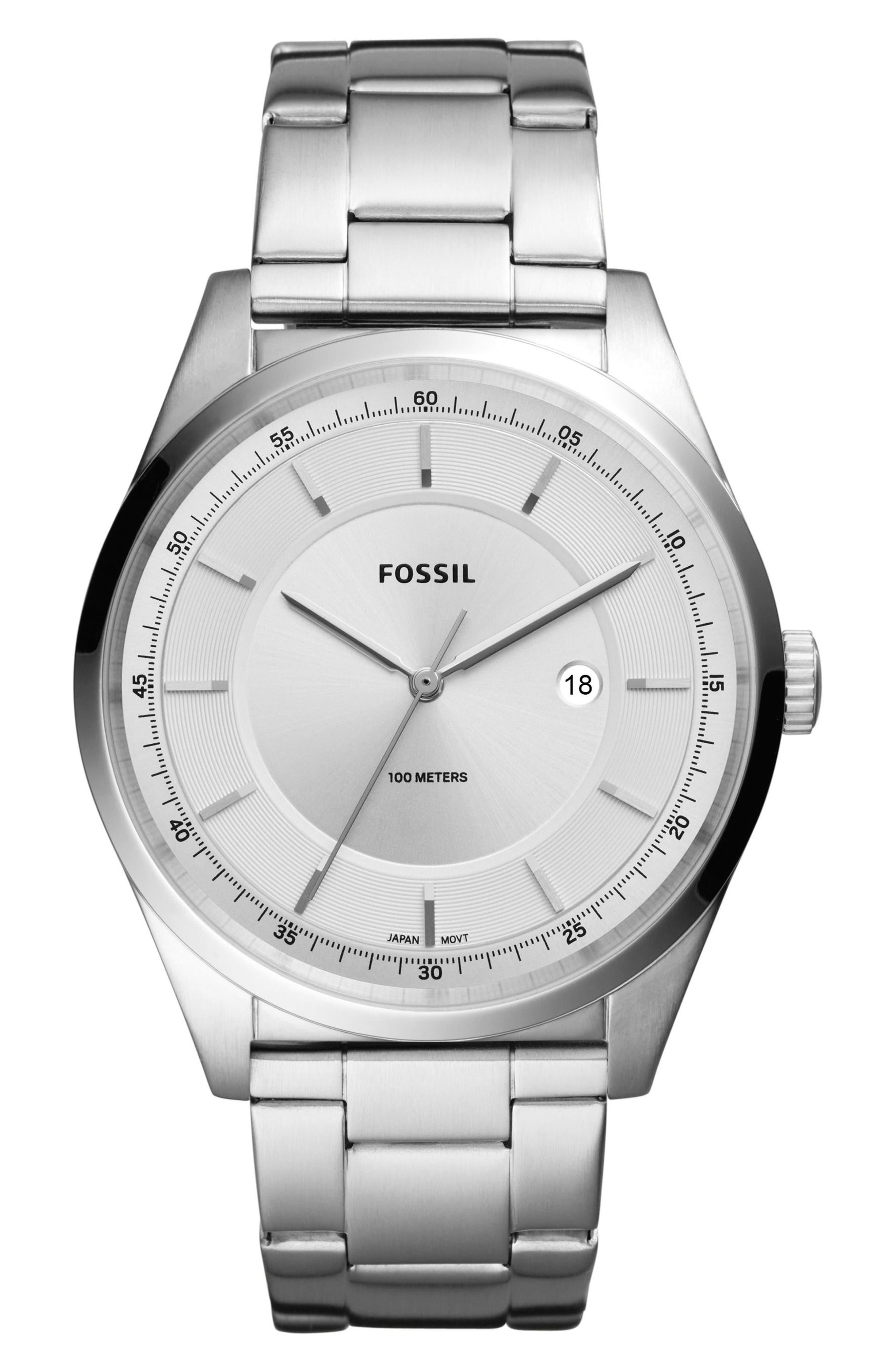Mathis Bracelet Watch, 44mm,                             Main thumbnail 1, color,                             Silver