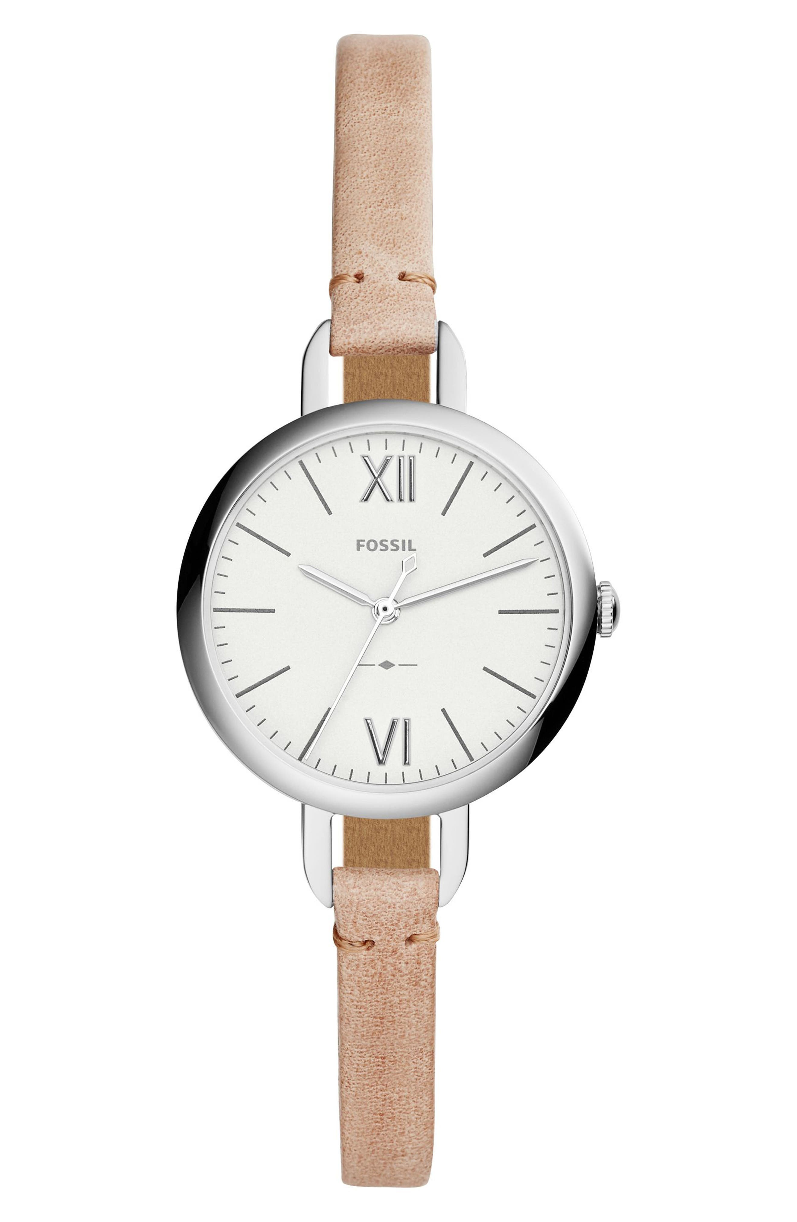 Annette Leather Strap Watch, 36mm,                             Main thumbnail 1, color,                             Brown/ Silver