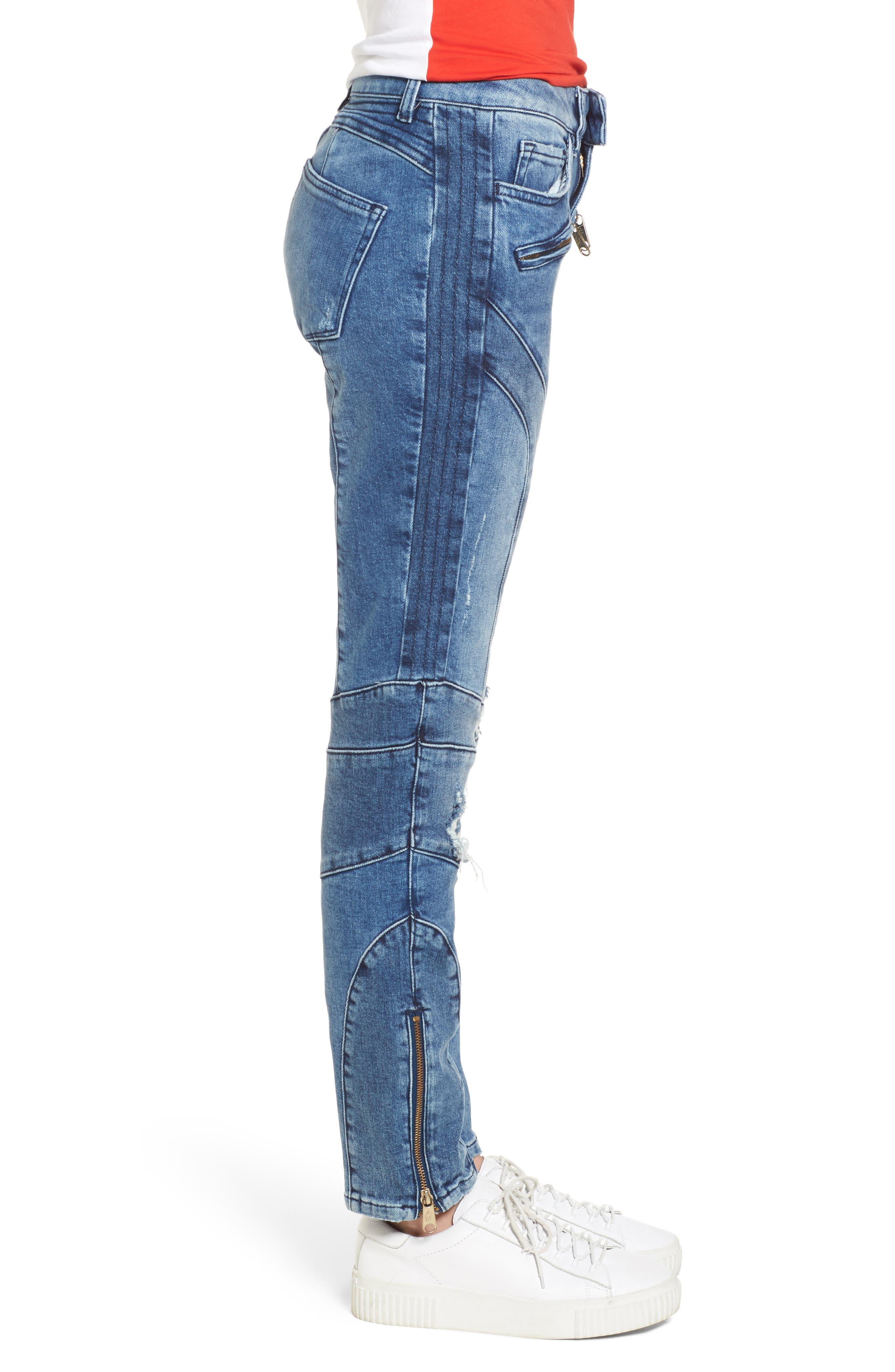x Gigi Hadid Speed Distressed Ankle Zip Jeans,                             Alternate thumbnail 4, color,                             Mid Blue