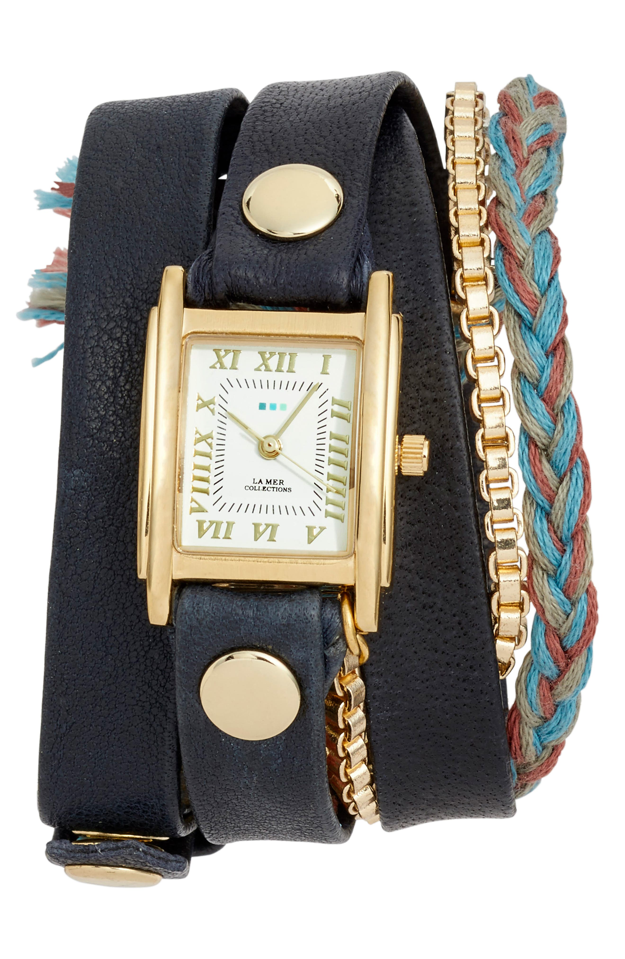 Brunello Leather & Chain Wrap Watch, 25mm,                             Main thumbnail 1, color,                             Navy/ White/ Gold