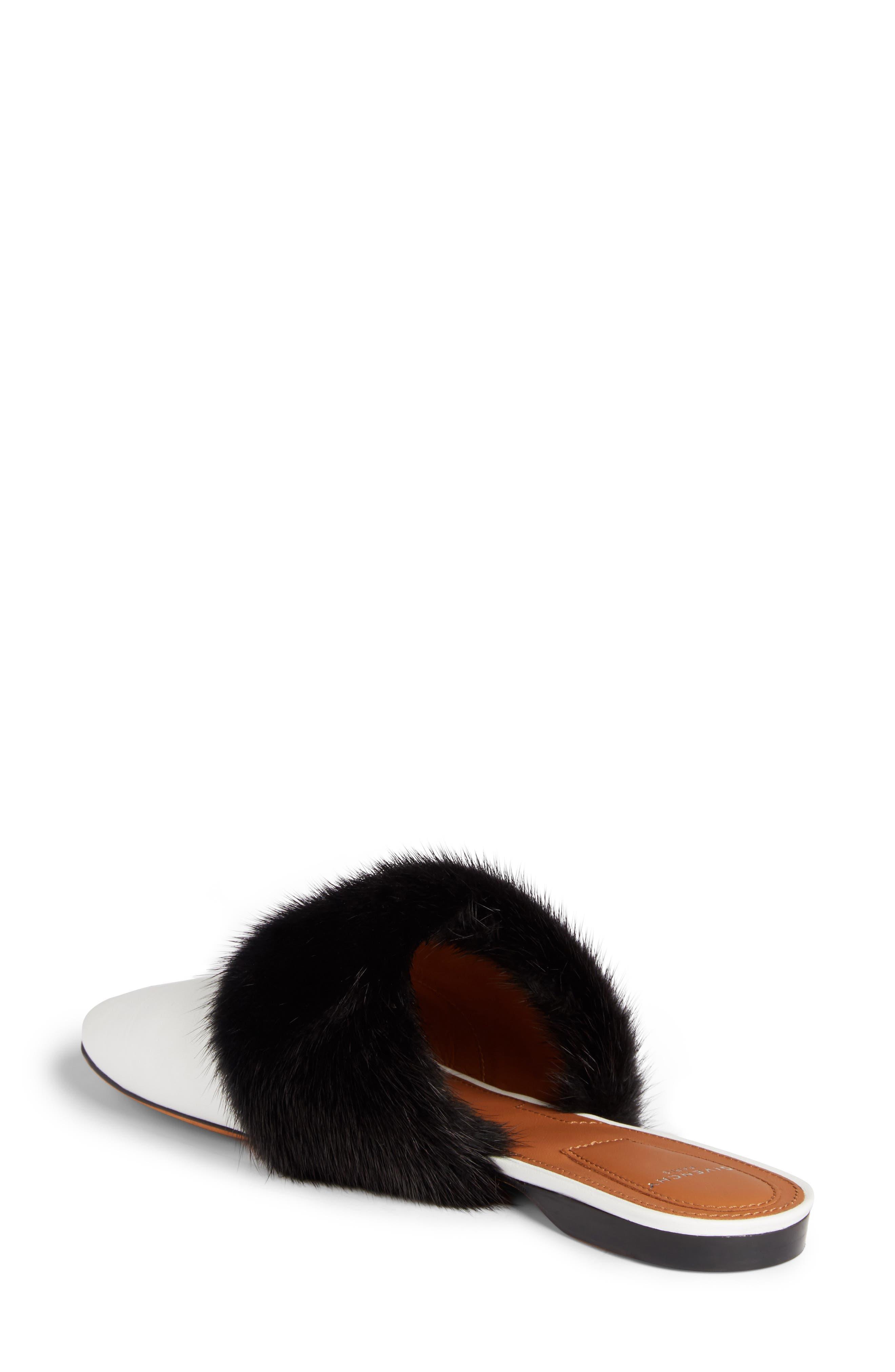 Genuine Mink Fur Mule,                             Alternate thumbnail 2, color,                             White/ Black