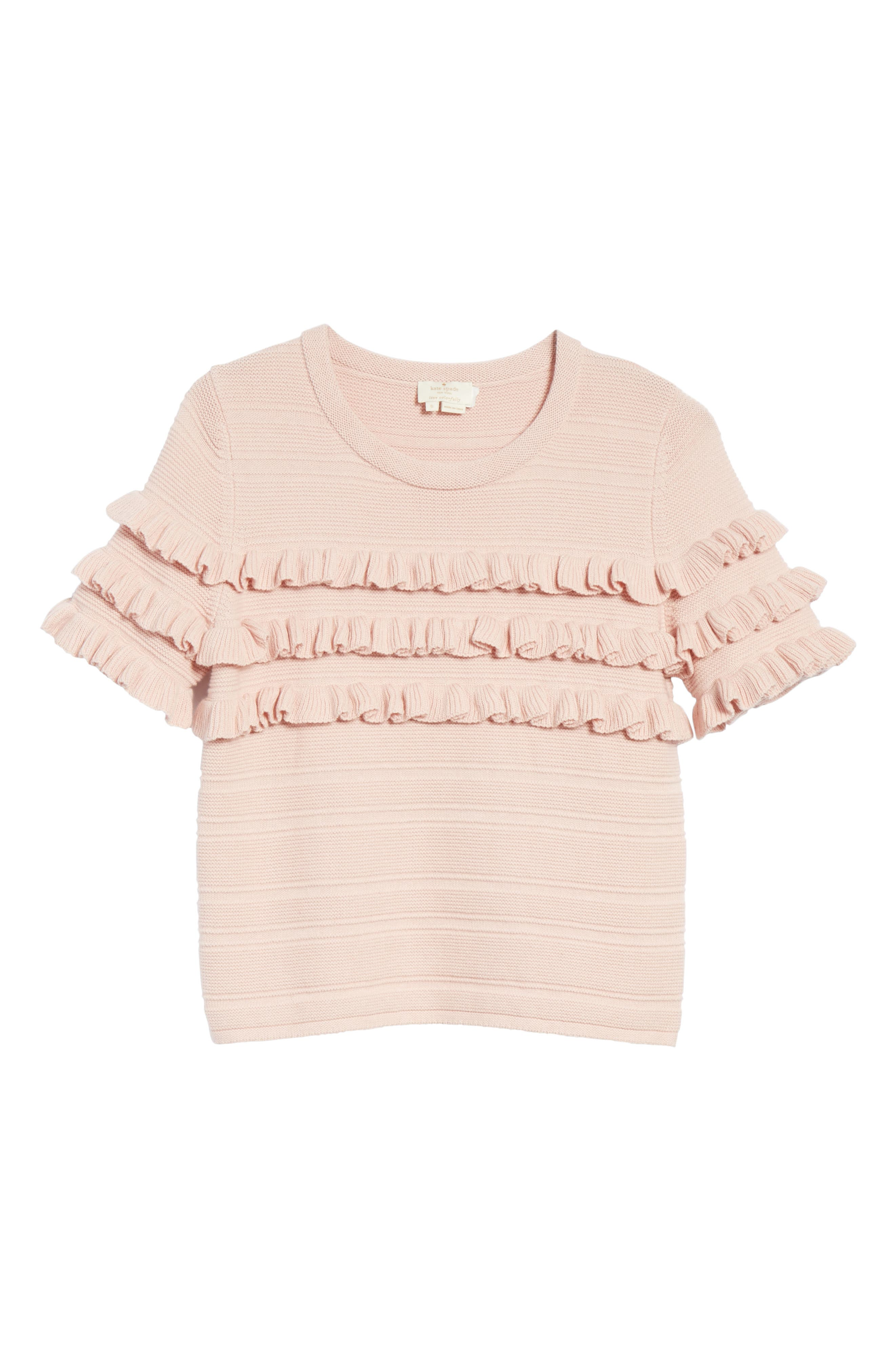 ruffled cotton & cashmere sweater,                             Alternate thumbnail 6, color,                             Cameo Pink