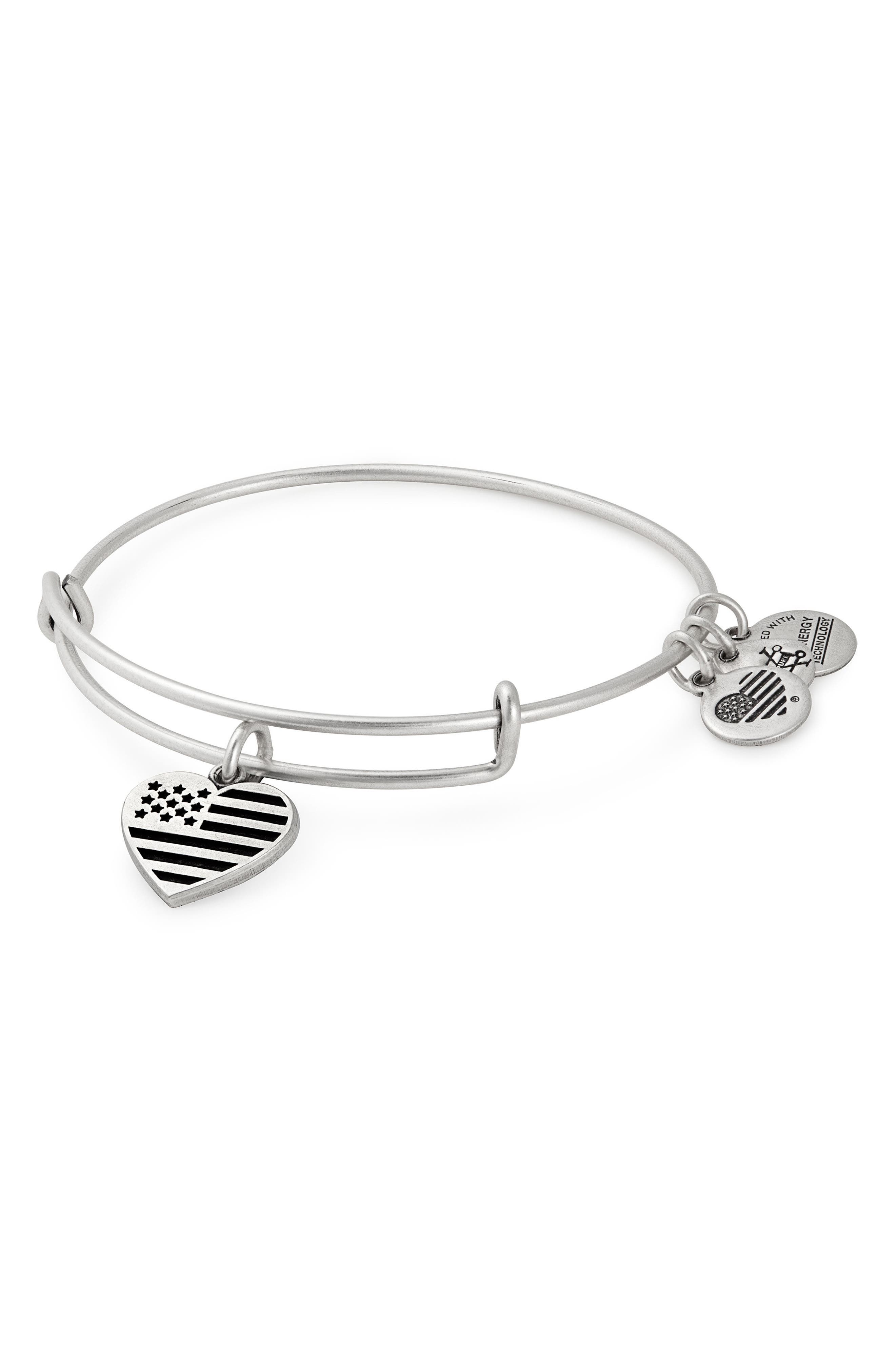 Heart Flag Adjustable Wire Bangle,                         Main,                         color, Silver