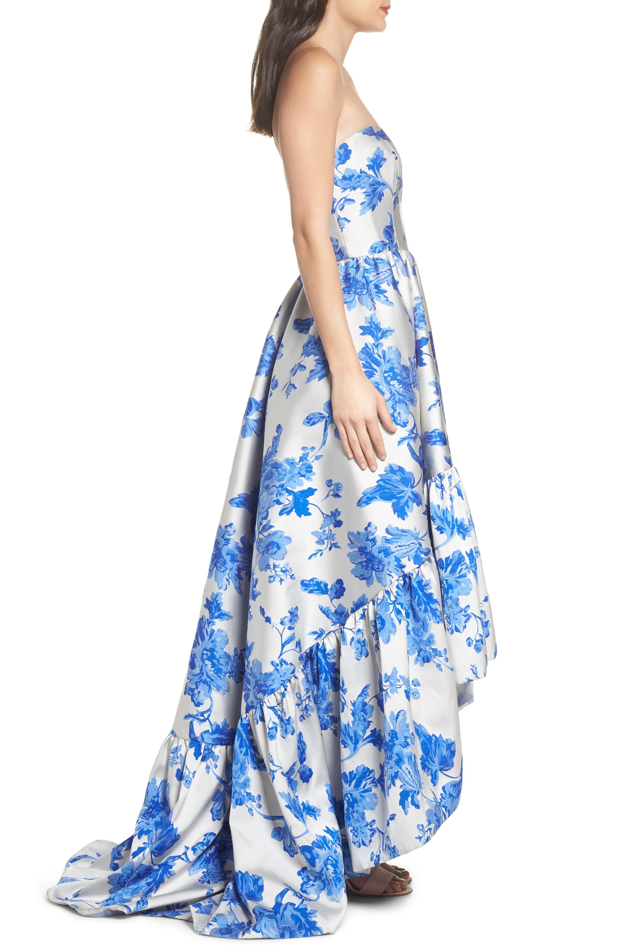 Mestiza Georgiana Floral High/Low Strapless Gown,                             Alternate thumbnail 3, color,                             Porcelain Blue