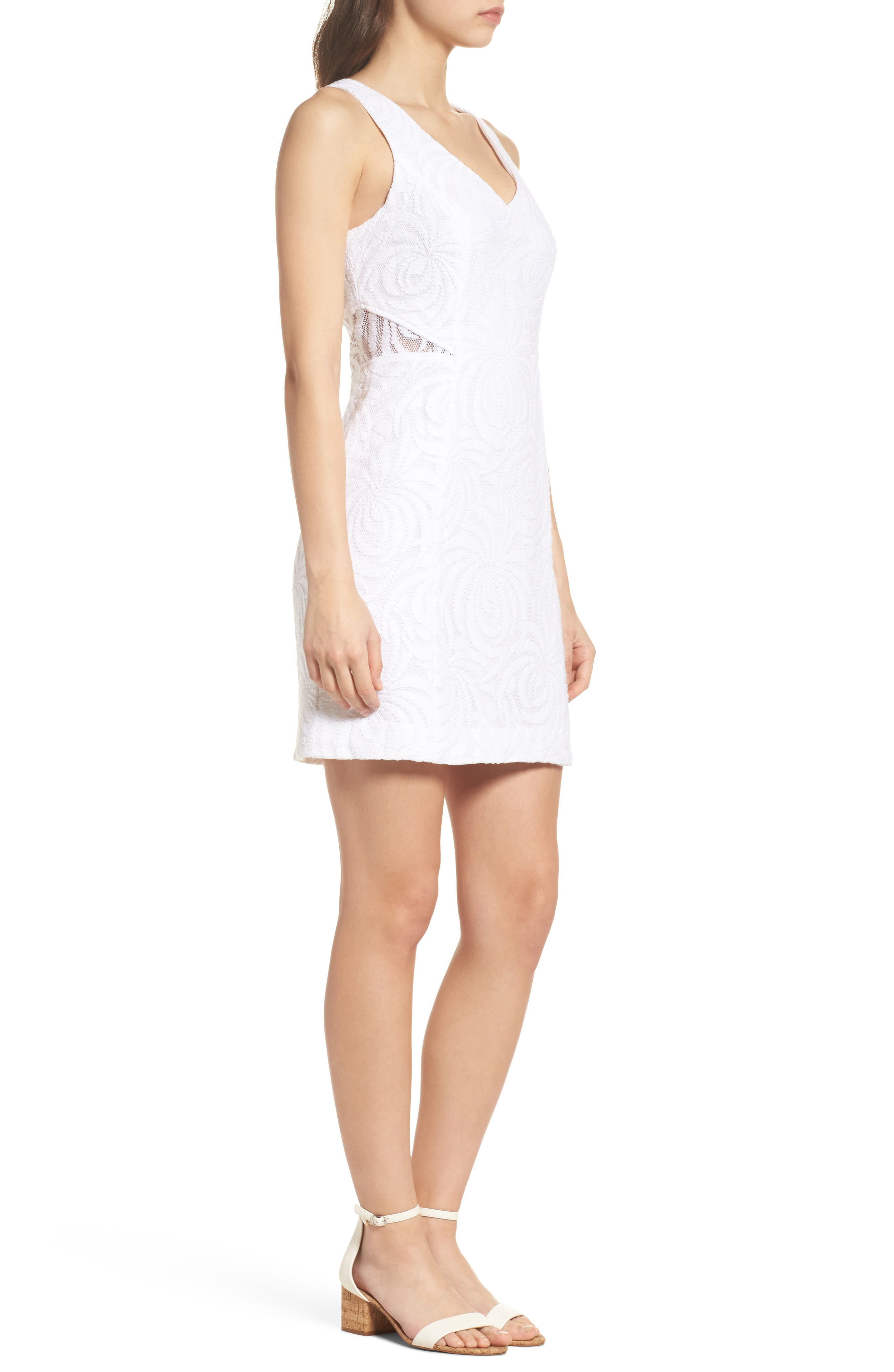 Blakely Lace Shift Dress,                             Alternate thumbnail 3, color,                             Resort White Sea Swirling Lace