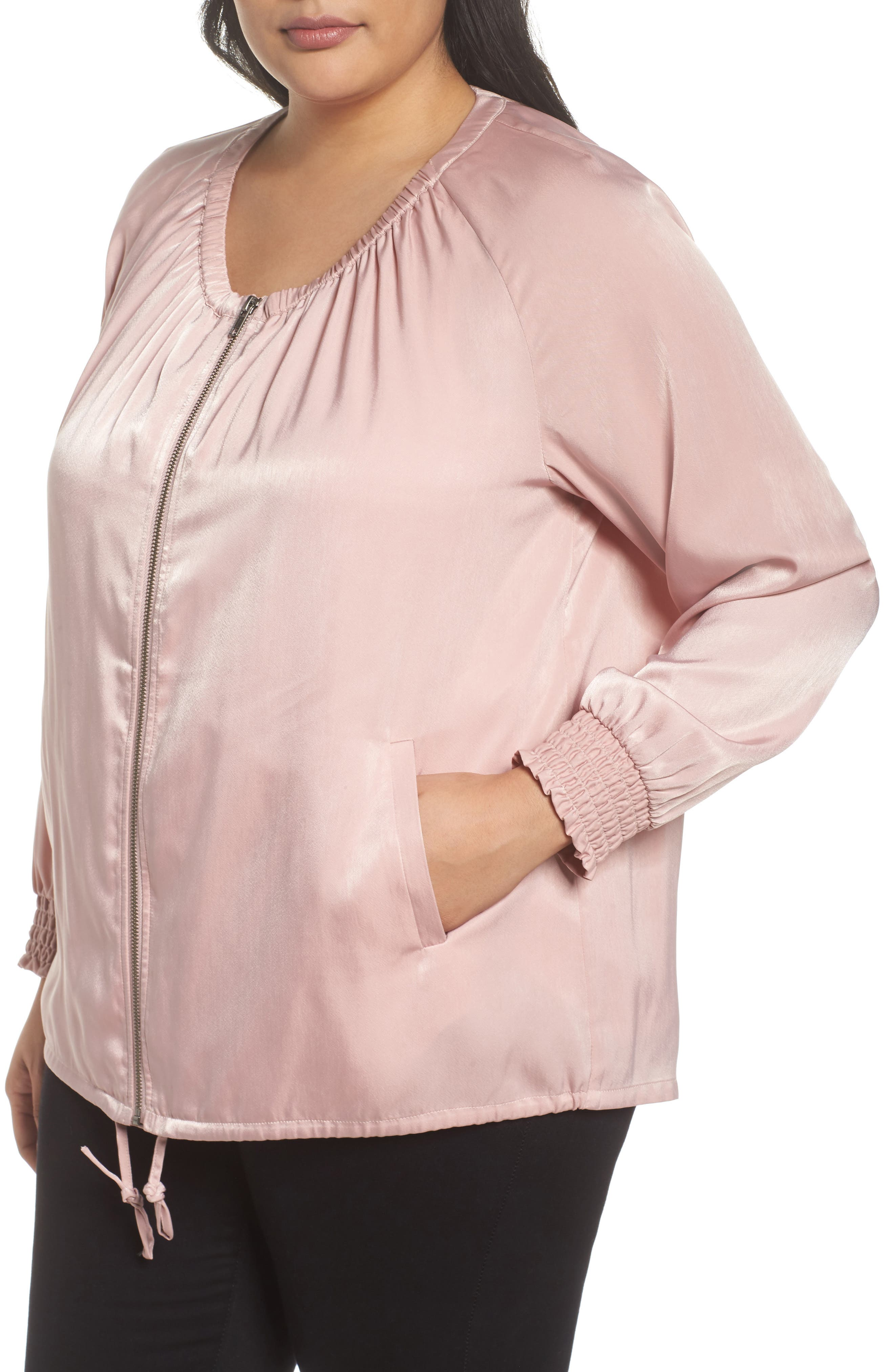 Swing Back Satin Bomber Jacket,                             Alternate thumbnail 4, color,                             Pink Puff