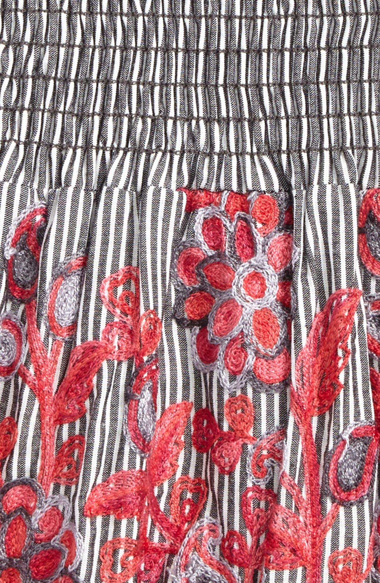 Flower Embroidered Skirt,                             Alternate thumbnail 2, color,                             Grey Ivory