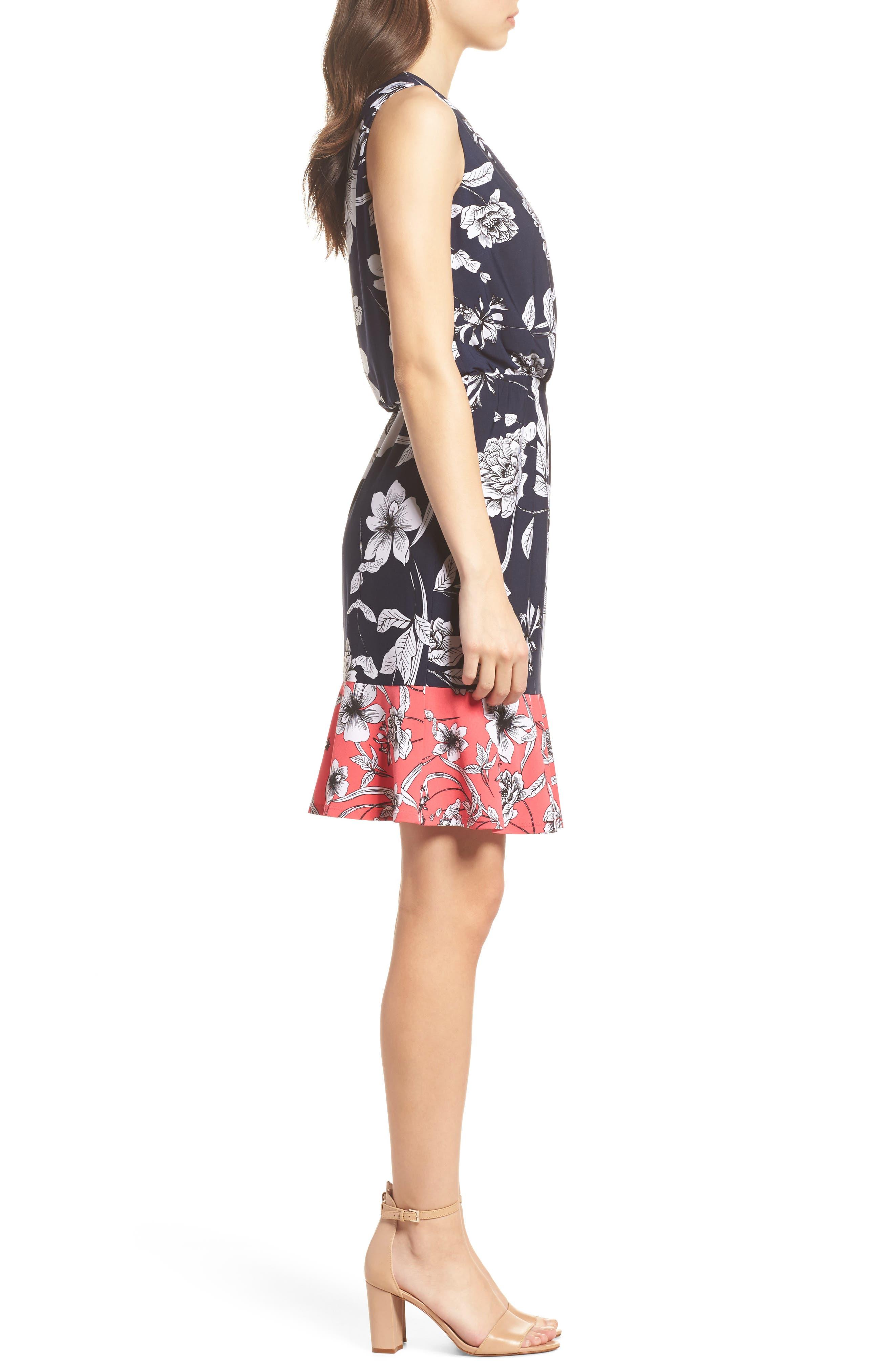 Surplice Blouson Dress,                             Alternate thumbnail 3, color,                             Navy/ Pink