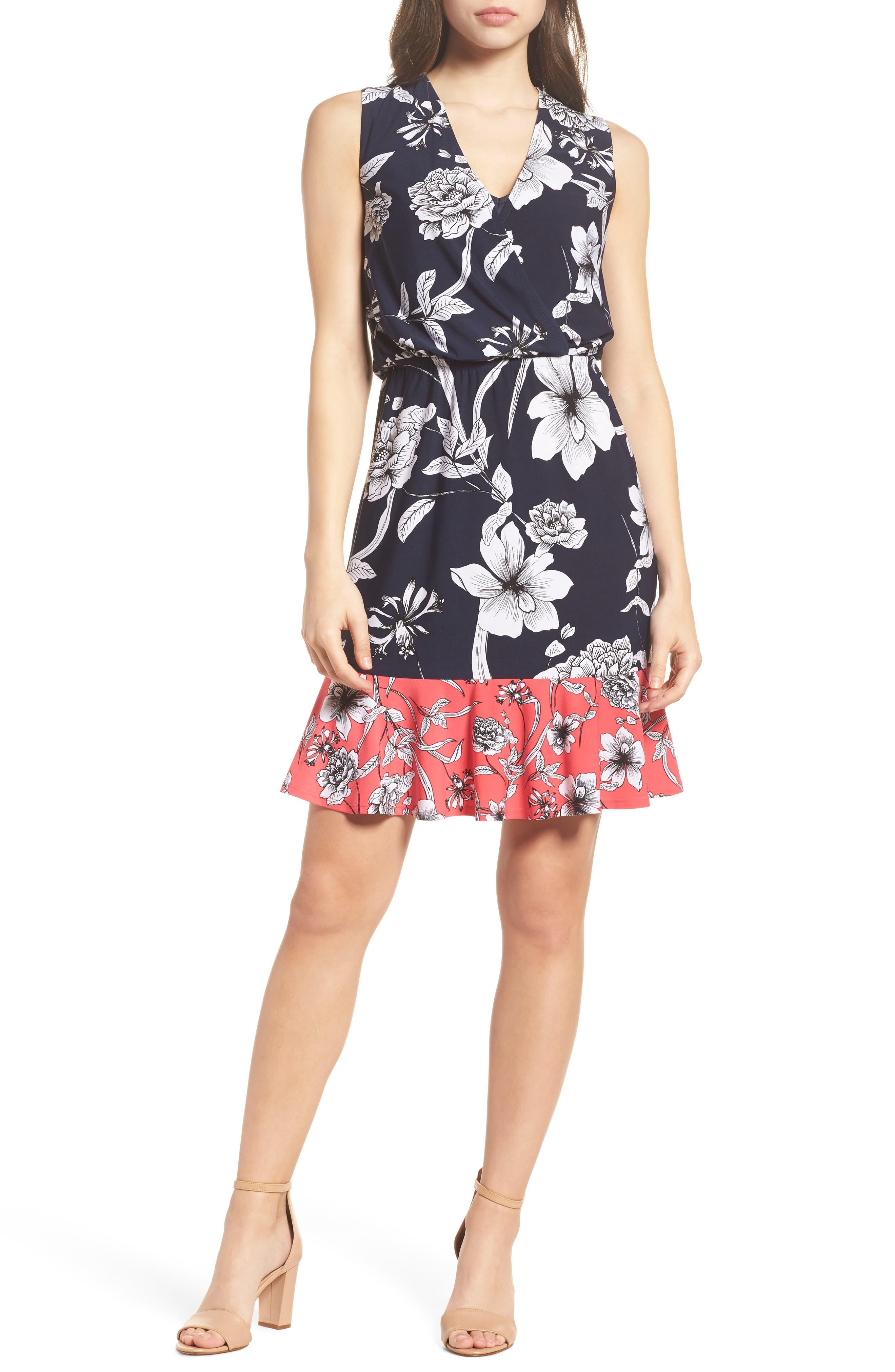 Surplice Blouson Dress,                         Main,                         color, Navy/ Pink