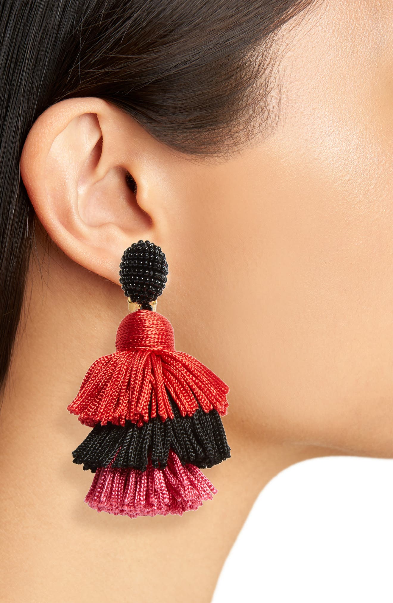 Alternate Image 2  - Oscar de la Renta Clip Tassel Drop Earrings
