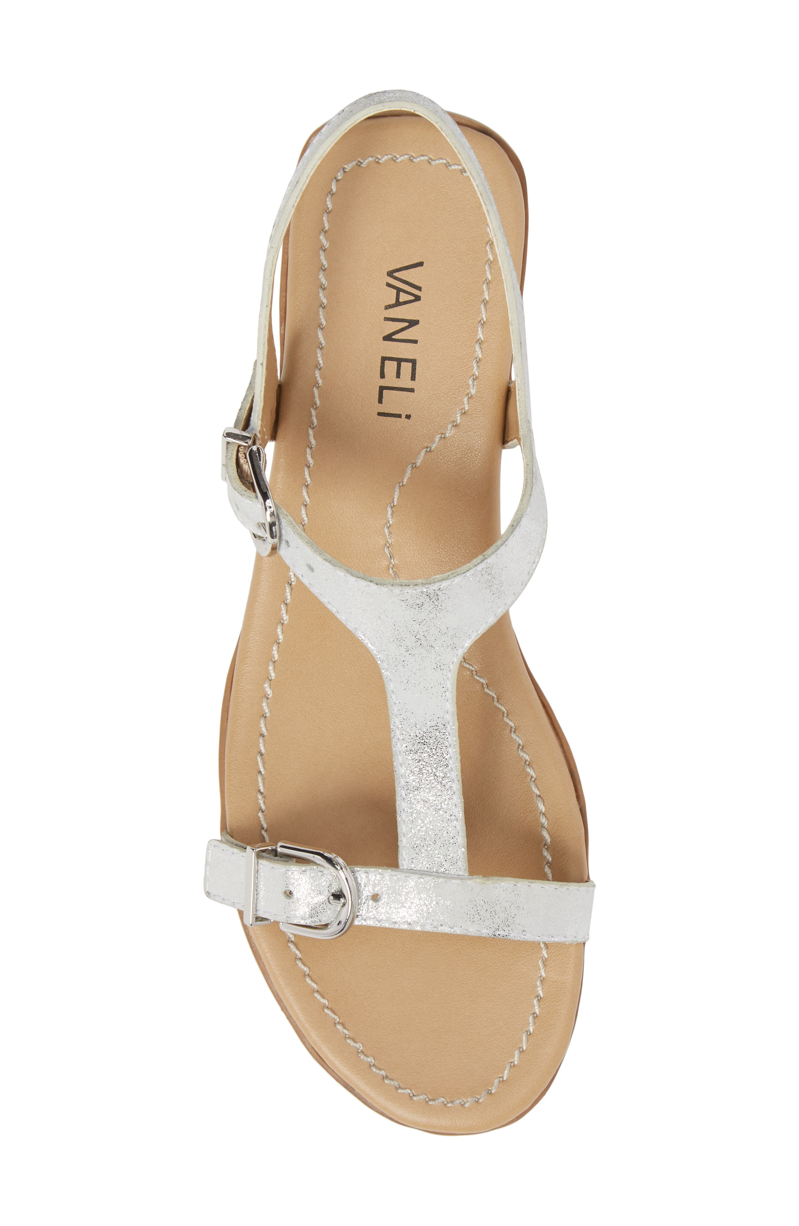 Taletha T-Strap Sandal,                             Alternate thumbnail 5, color,                             Silver Printed Suede