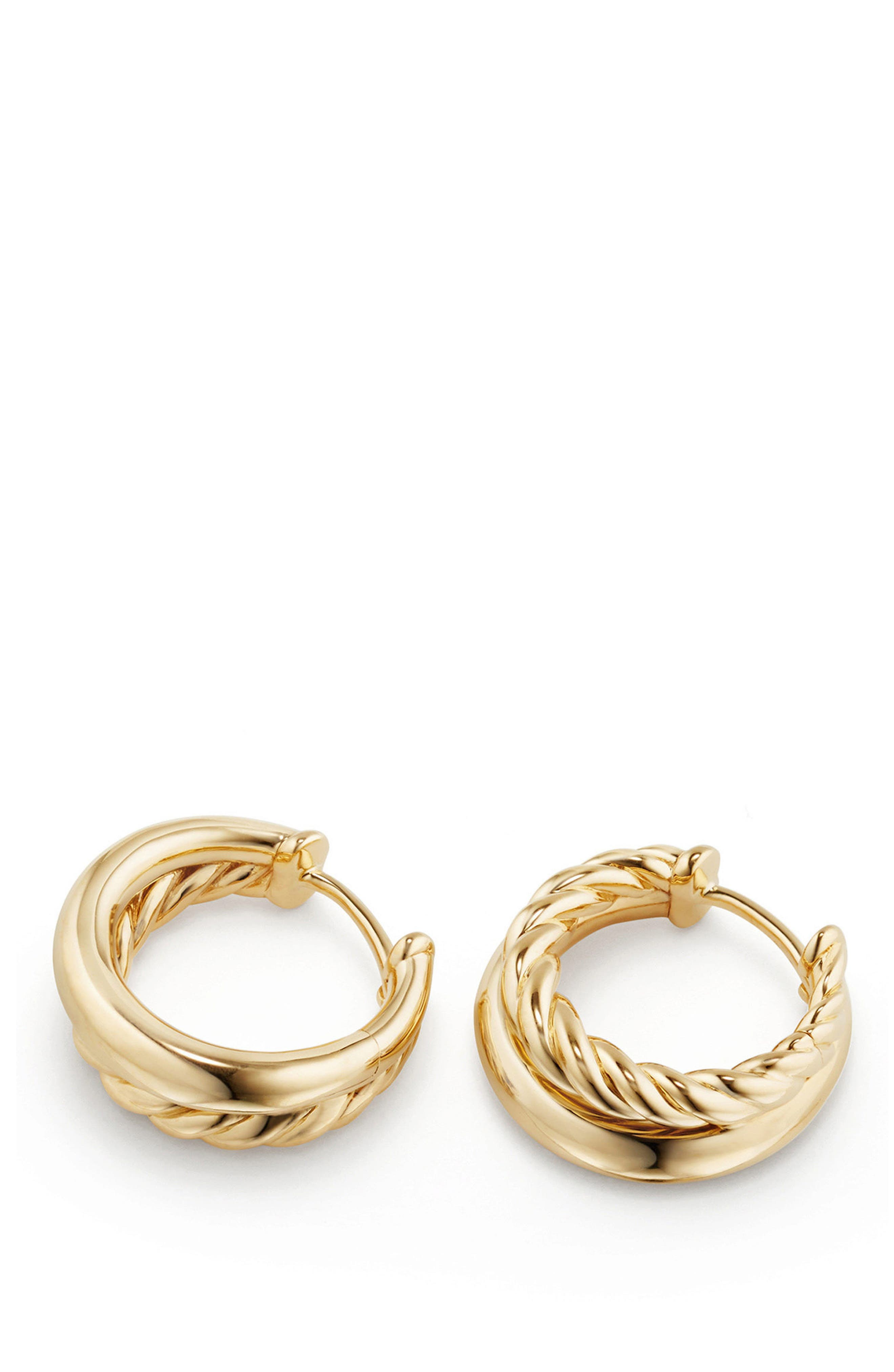 Pure Form Hoop Earrings in 18K Gold, 12mm,                             Alternate thumbnail 2, color,                             Yellow Gold