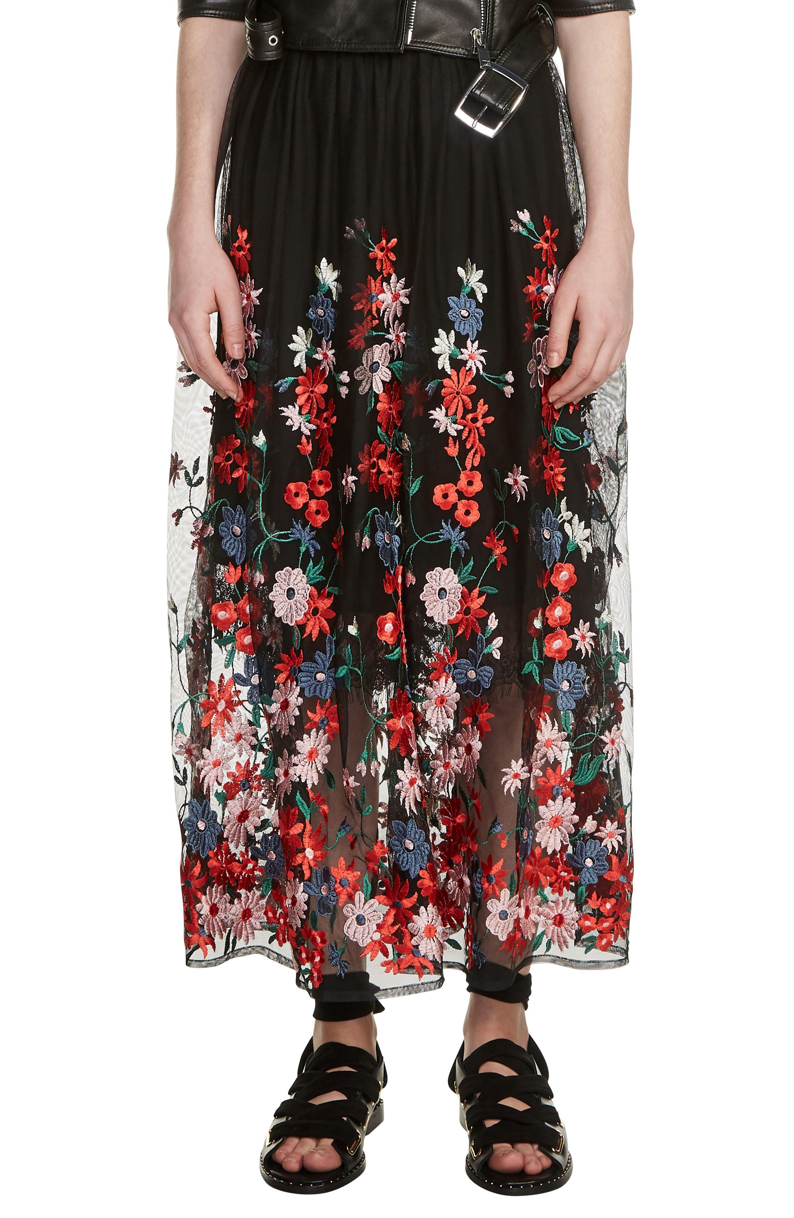 Jamie Embroidered Maxi Skirt,                             Main thumbnail 1, color,                             Black 210