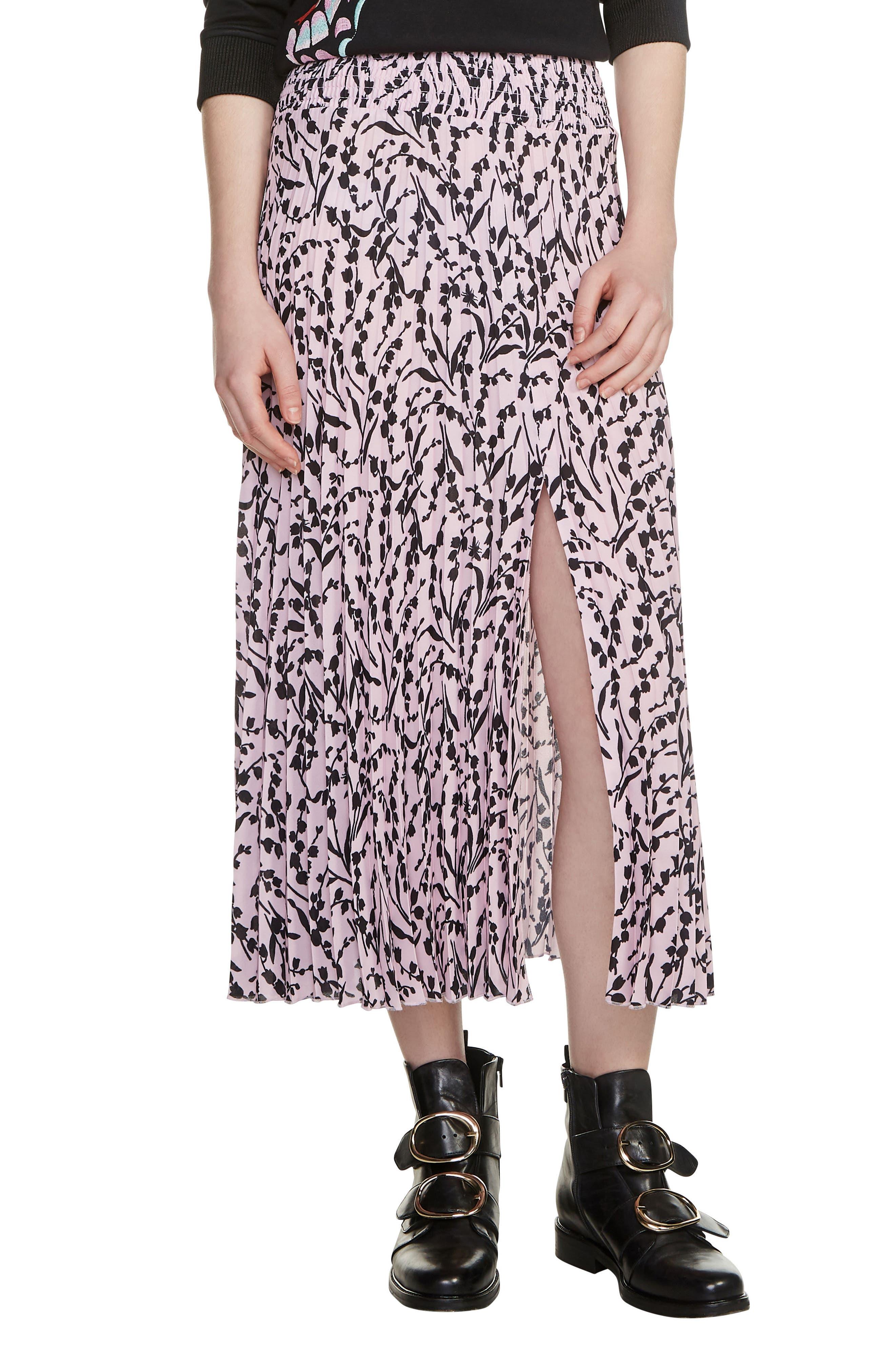 Javina Pleated Midi Skirt,                             Main thumbnail 1, color,                             Printed