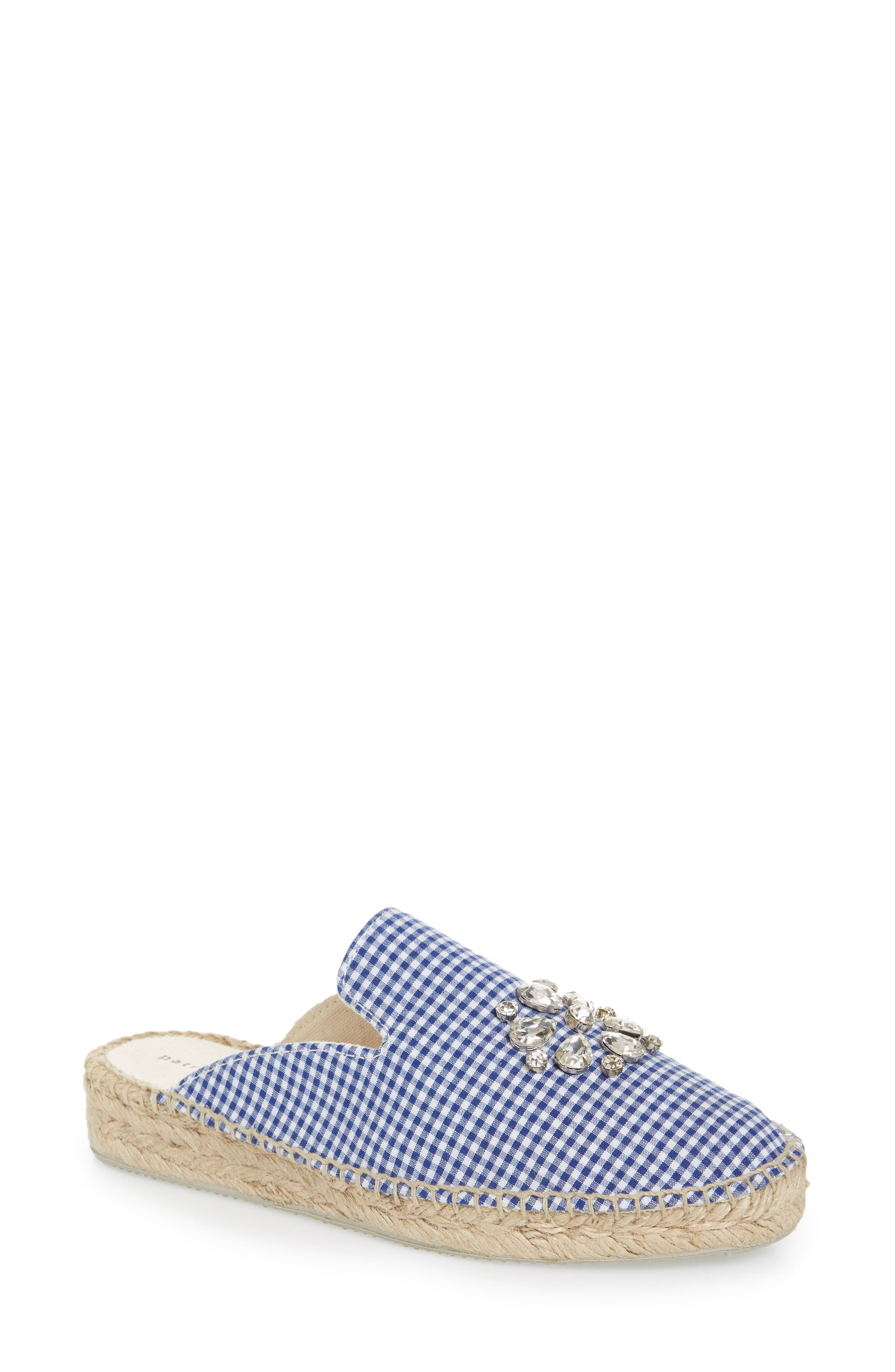 Gingham Glam Embellished Loafer Mule,                             Main thumbnail 1, color,                             Blue Fabric