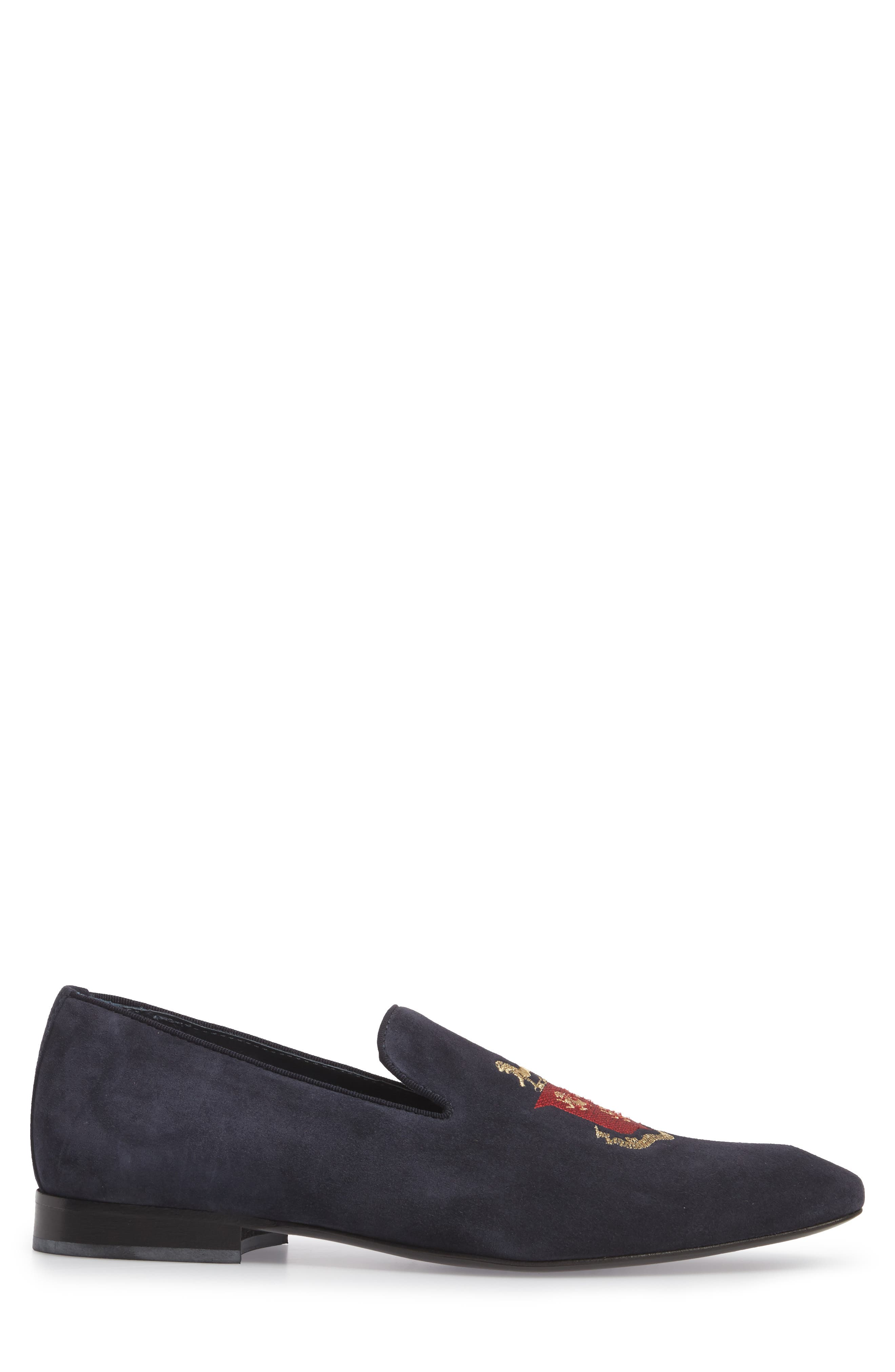 Altos Embroidered Venetian Loafer,                             Alternate thumbnail 3, color,                             Navy