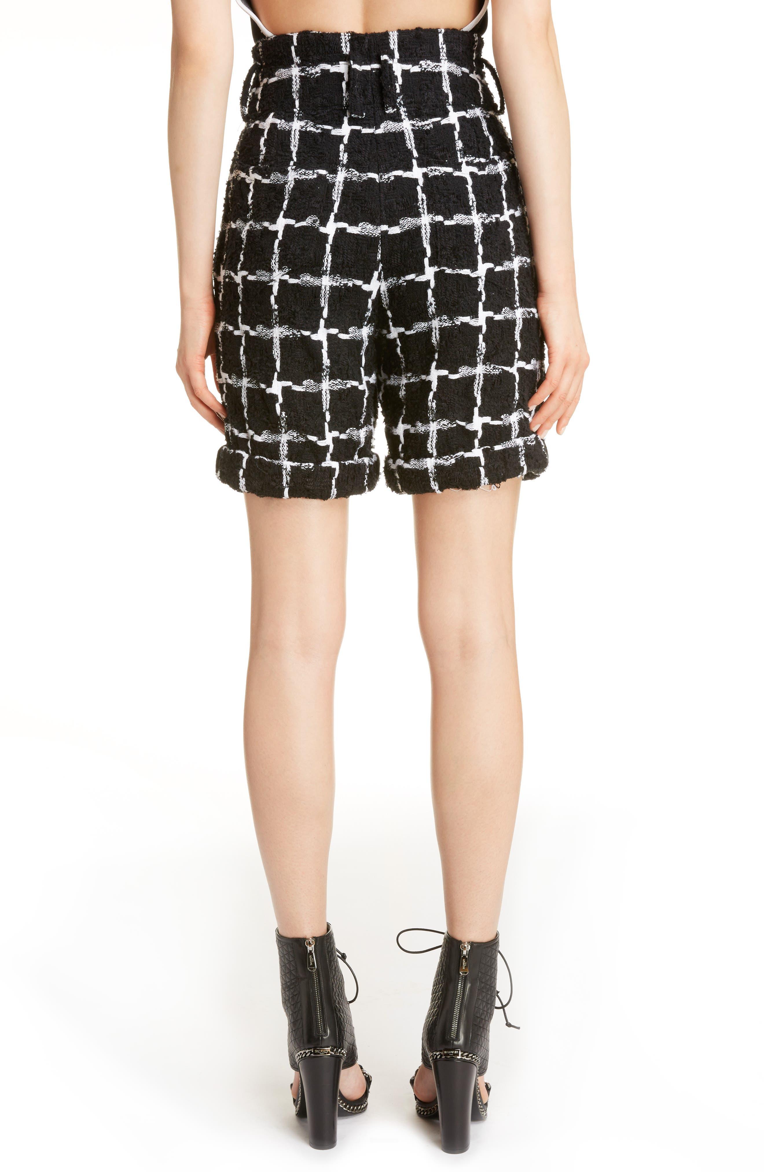 Windowpane Check Bouclé Shorts,                             Alternate thumbnail 3, color,                             Black/ White