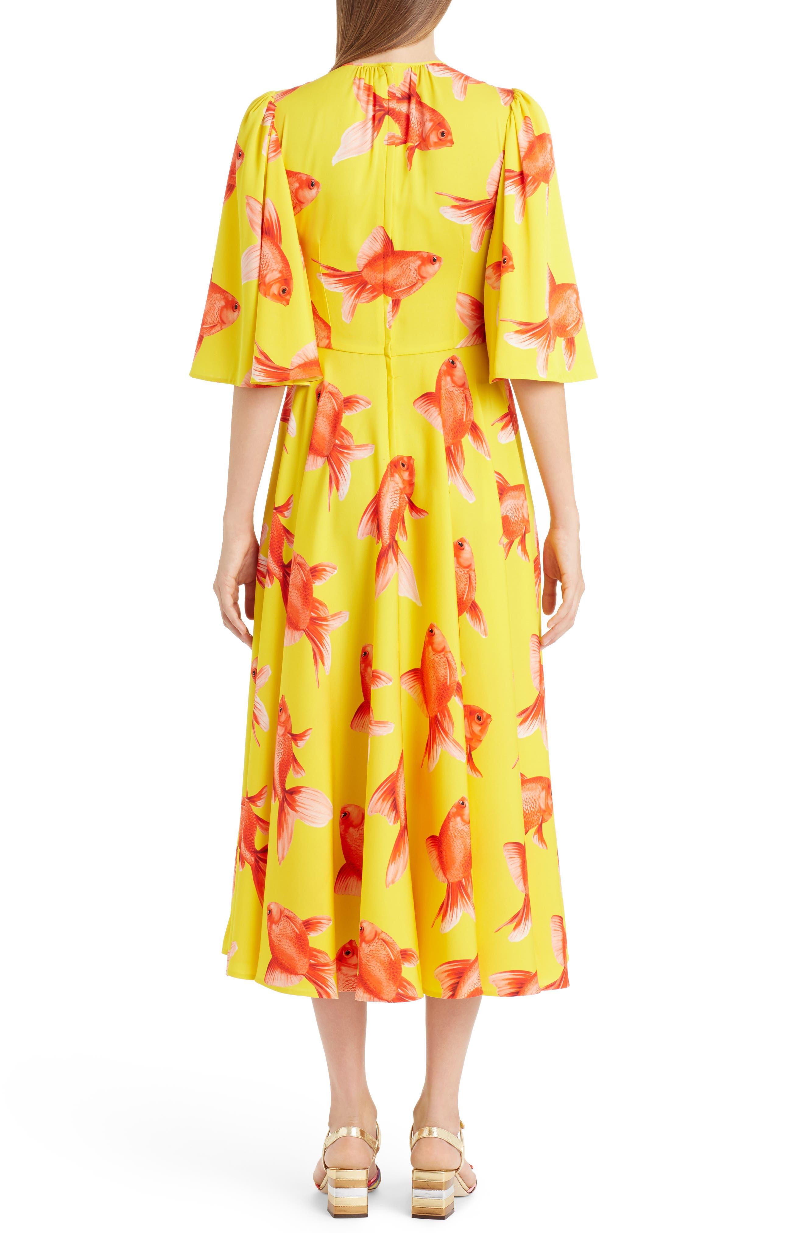 Goldfish Print Silk Blend Charmeuse Dress,                             Alternate thumbnail 3, color,                             Pesci