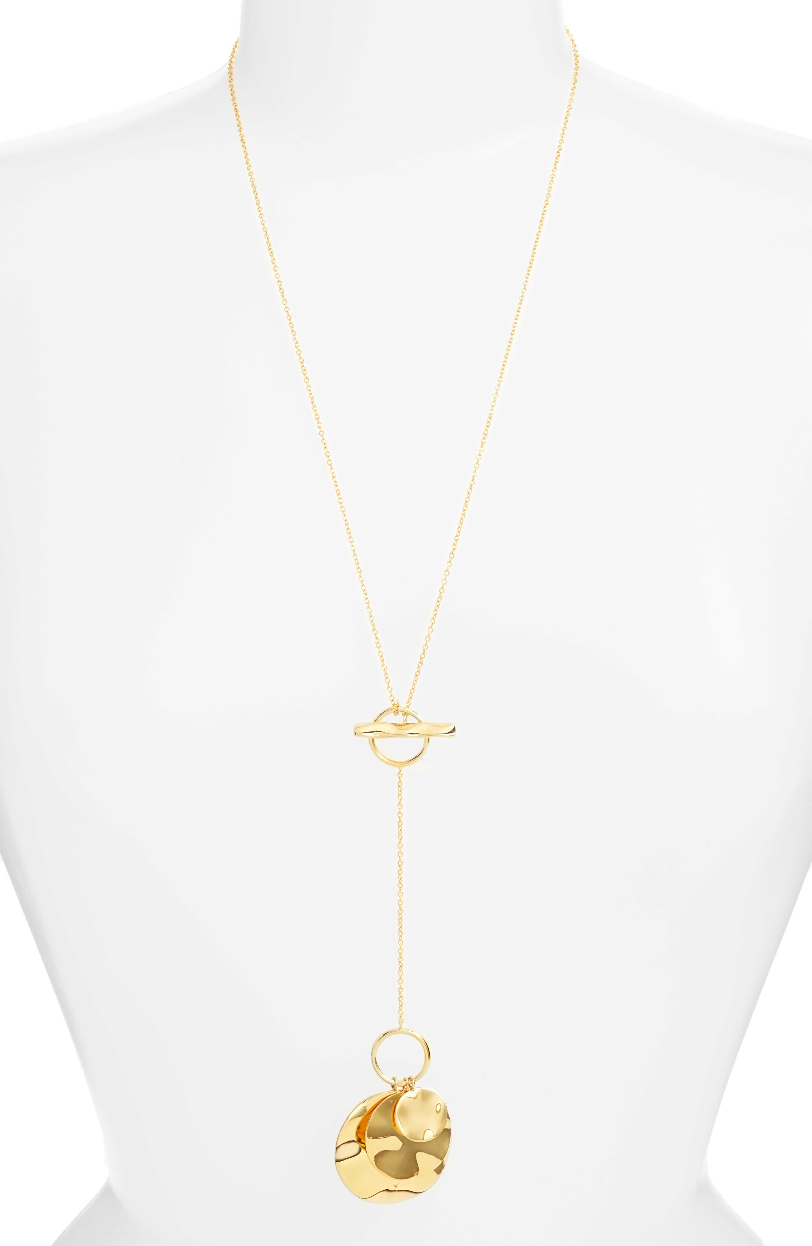Chloe Hammered Disc Toggle Necklace,                         Main,                         color, Gold