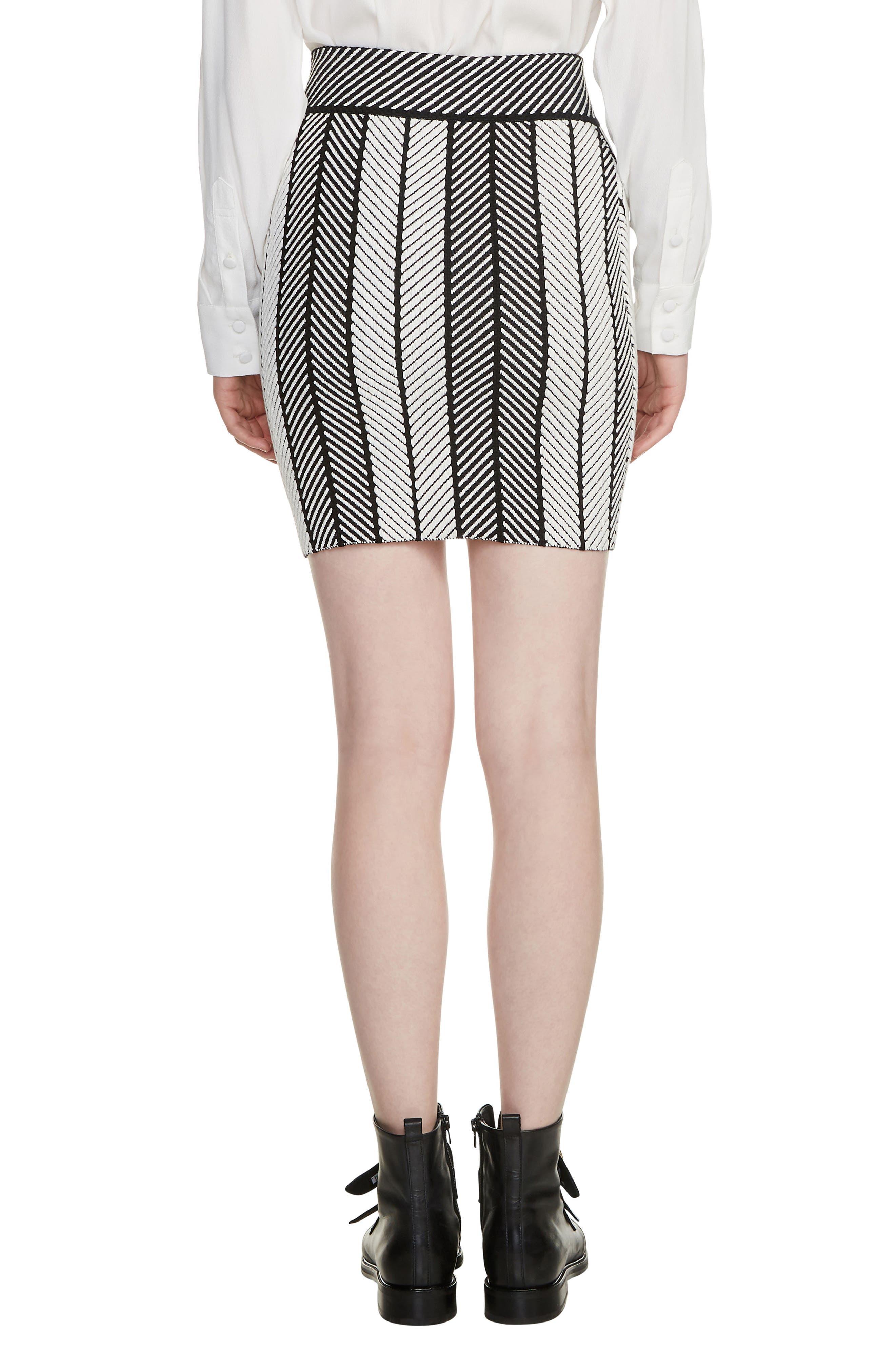 Jessy Herringbone Strip Miniskirt,                             Alternate thumbnail 2, color,                             Multico
