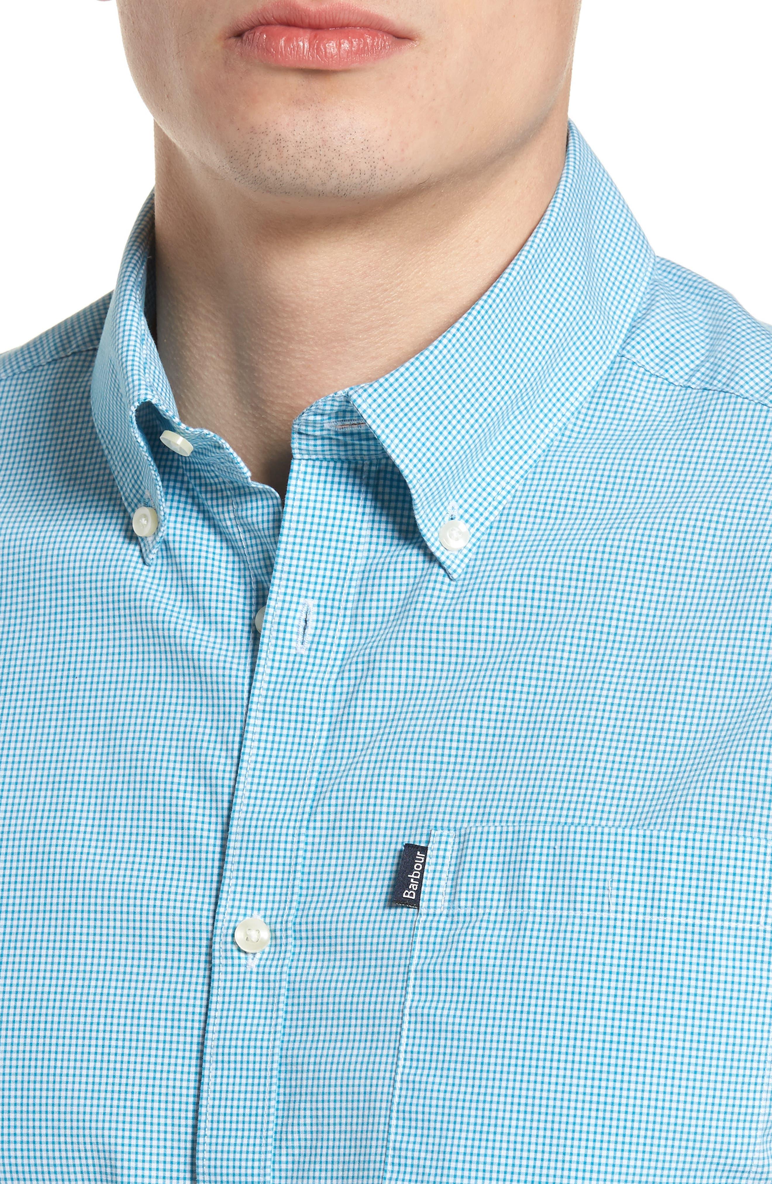 Triston Regular Fit Check Sport Shirt,                             Alternate thumbnail 4, color,                             Turquoise