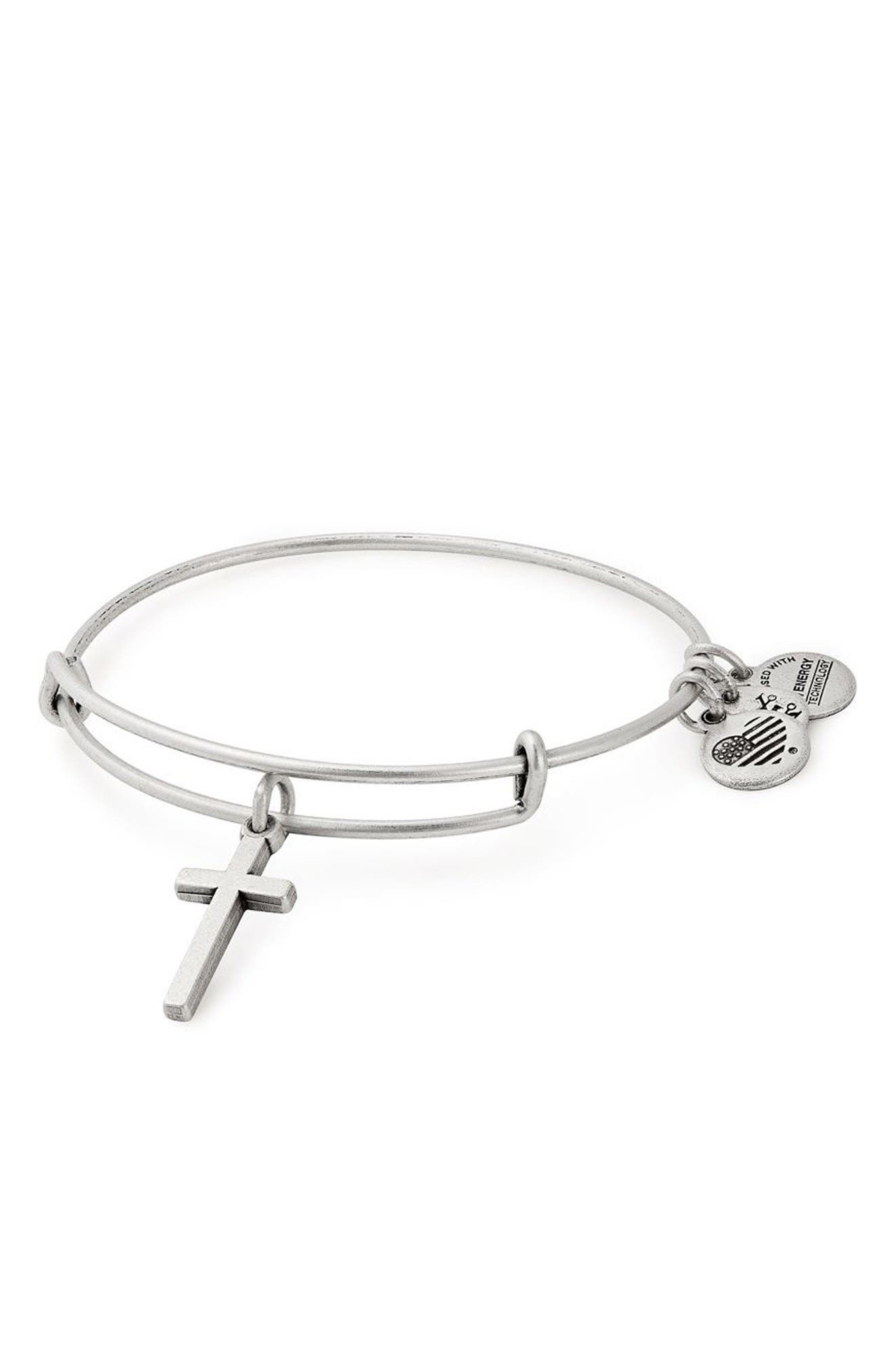 Cross Bangle,                             Main thumbnail 1, color,                             Silver