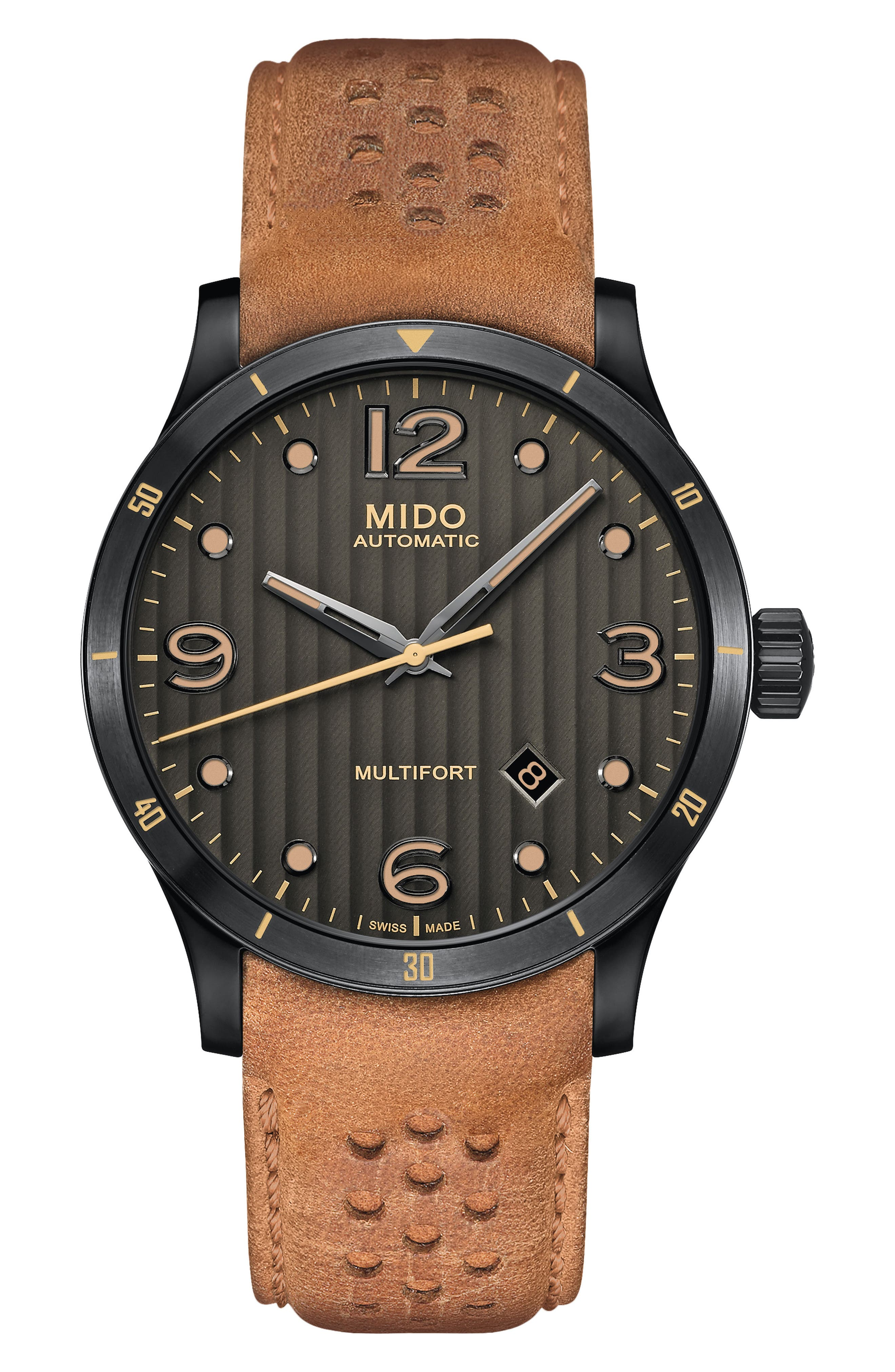 Multifort Automatic Leather Strap Watch, 42mm,                         Main,                         color, Tan/ Grey/ Gunmetal