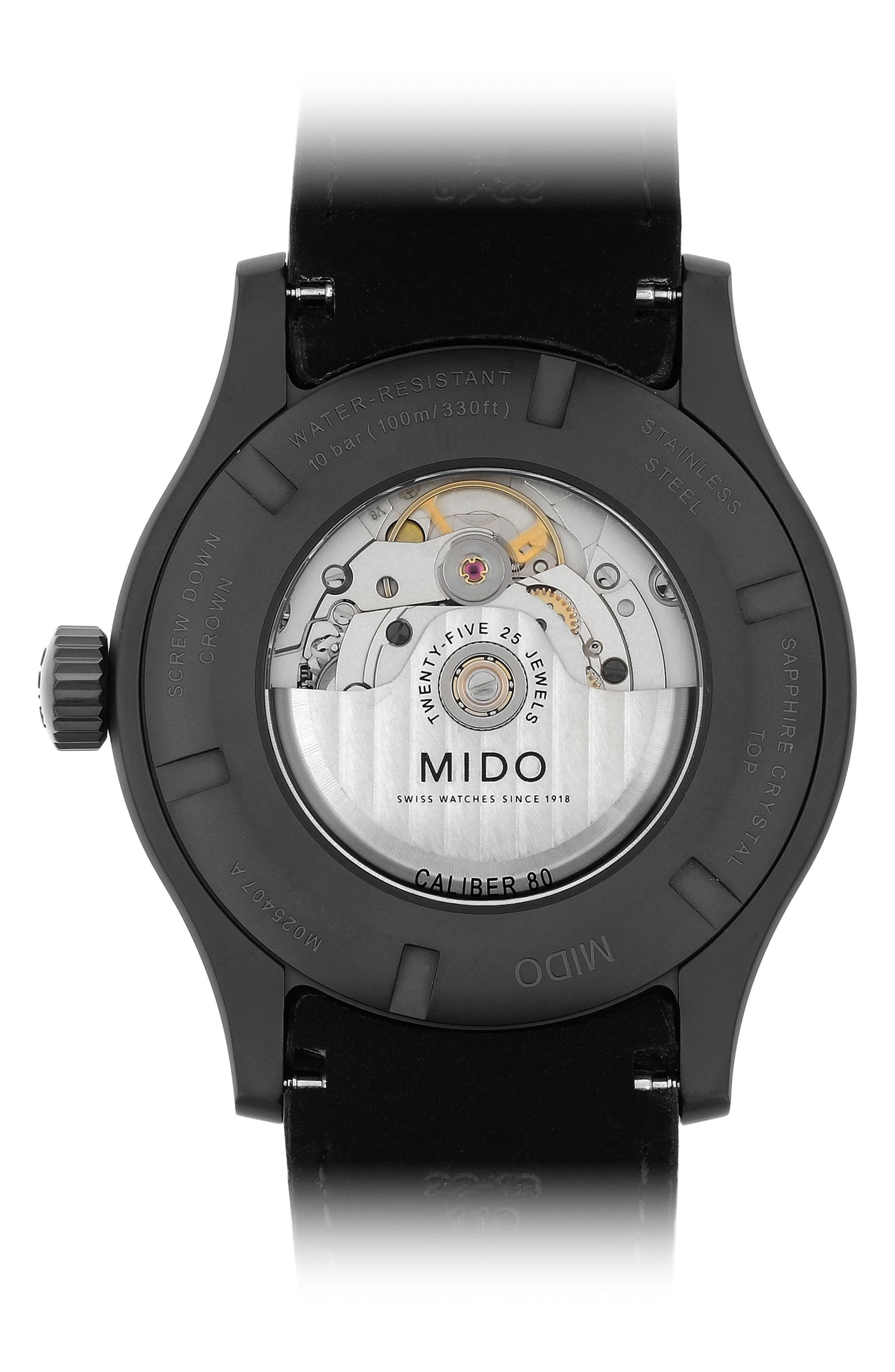 Alternate Image 2  - MIDO Multifort Automatic Leather Strap Watch, 42mm