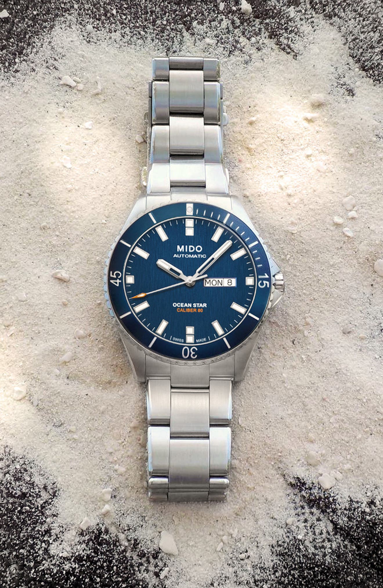 Ocean Star Diver Bracelet Watch, 42mm,                             Alternate thumbnail 2, color,                             Silver/ Navy/ Wilver