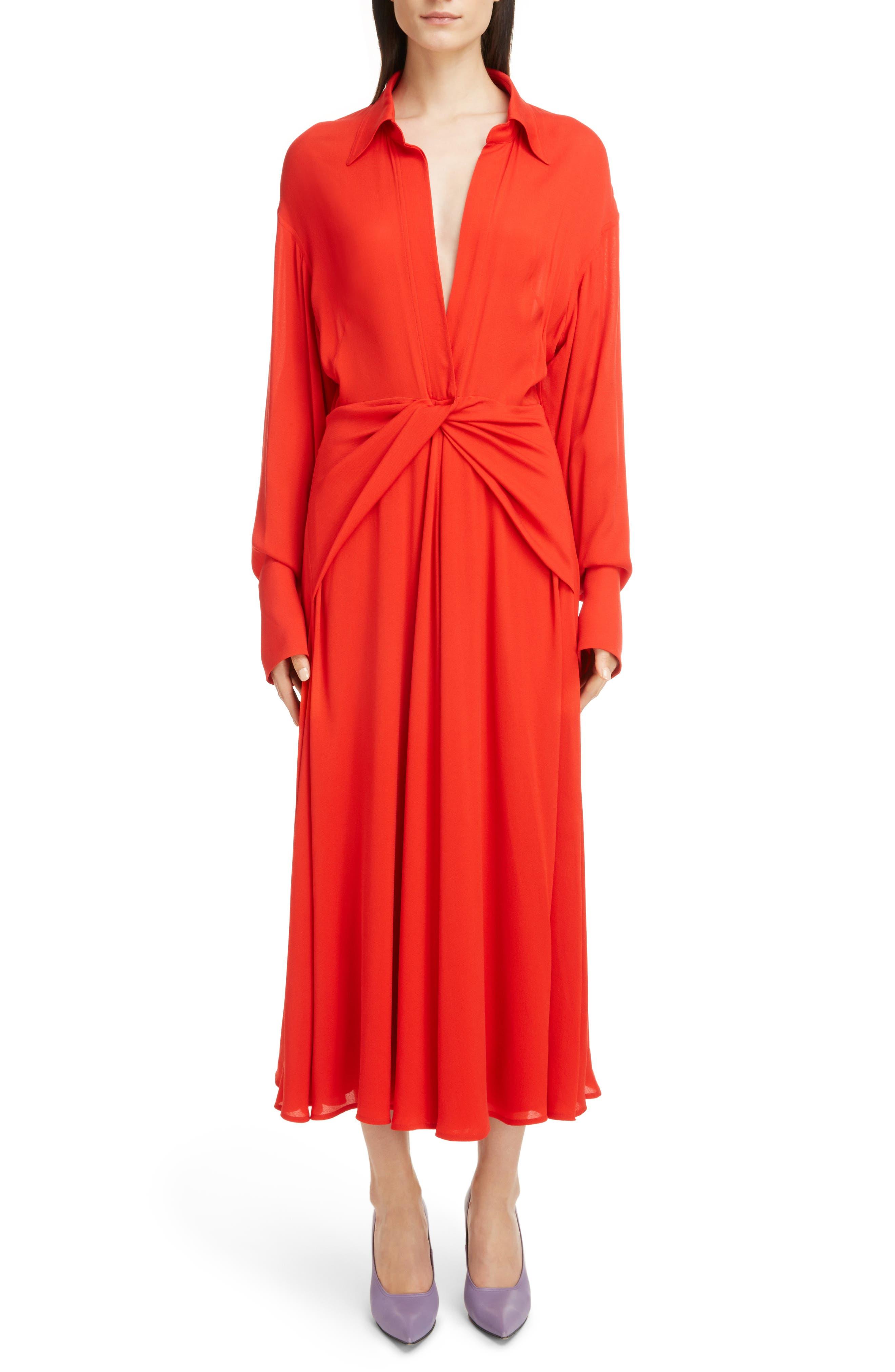 Twist Waist Silk Dress,                             Main thumbnail 1, color,                             Bright Red
