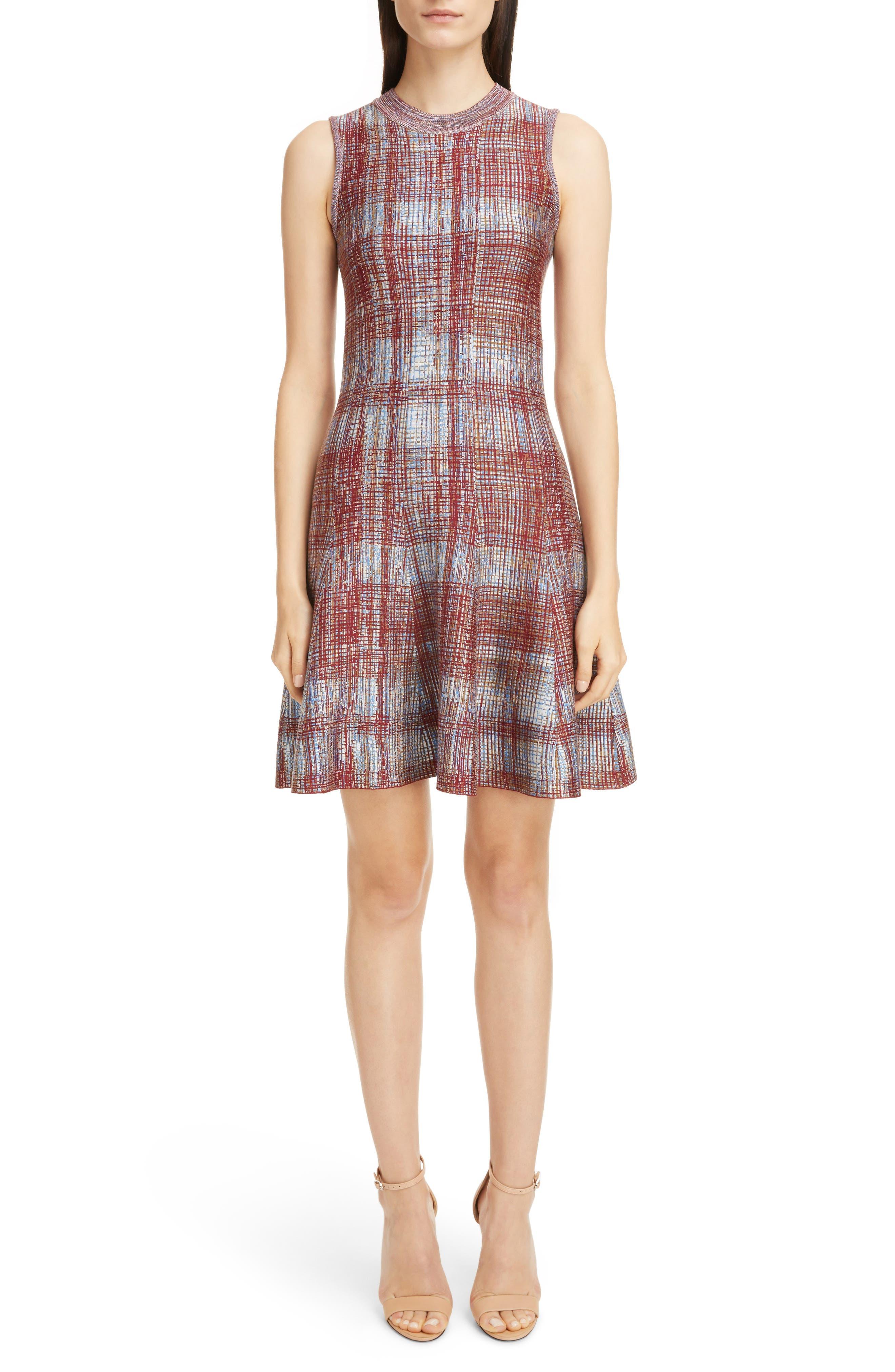 Victoria Beckham Plaid Flare Hem Silk & Wool Dress