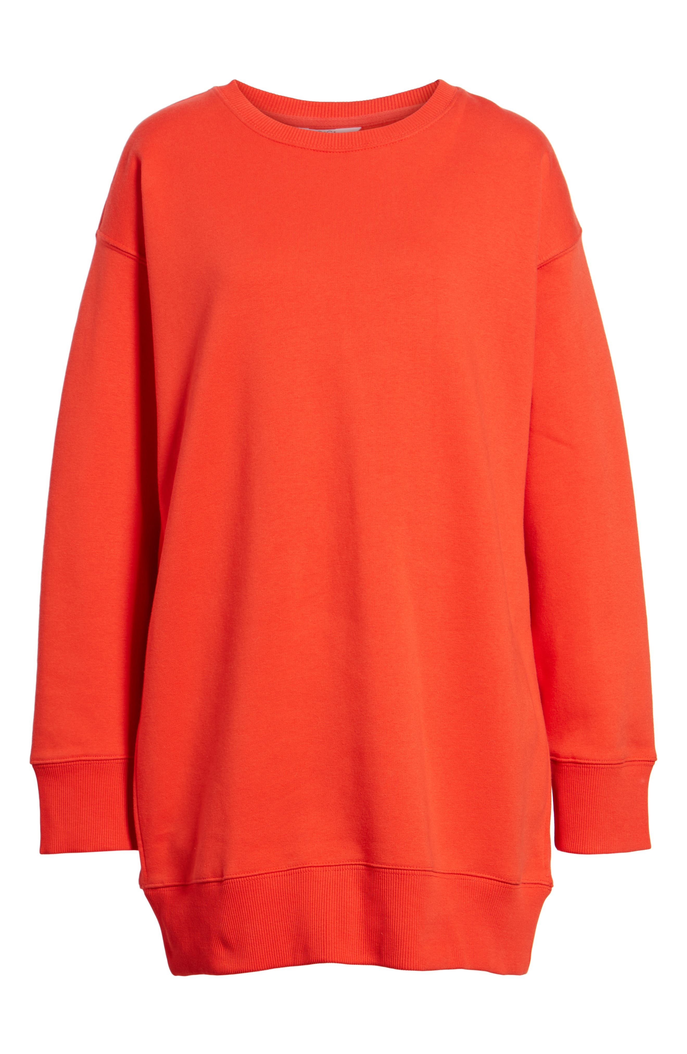 x Gigi Hadid Sweatshirt Dress,                             Alternate thumbnail 6, color,                             Flame Scarlet