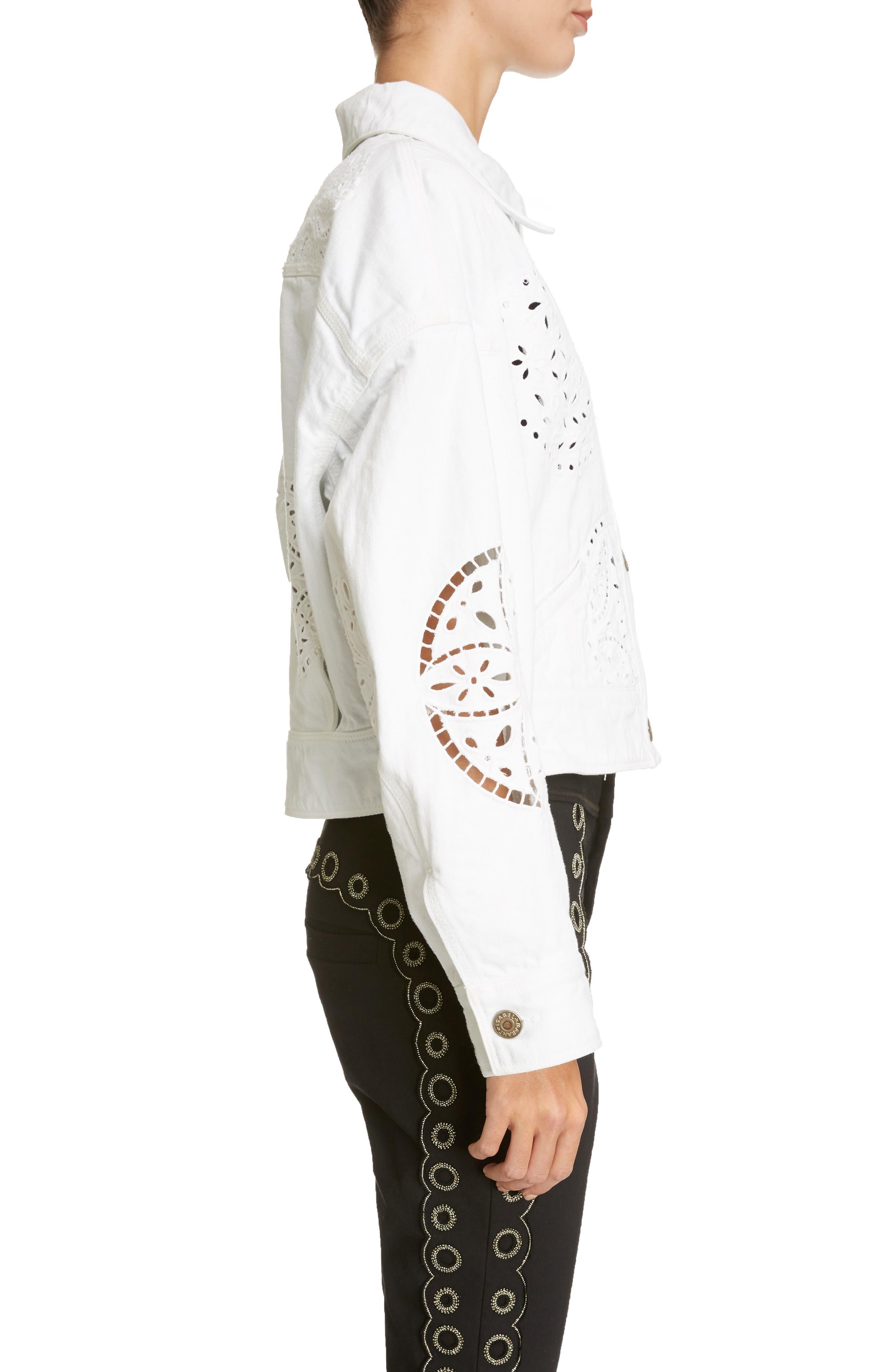 Broderie Anglaise Denim Jacket,                             Alternate thumbnail 3, color,                             White