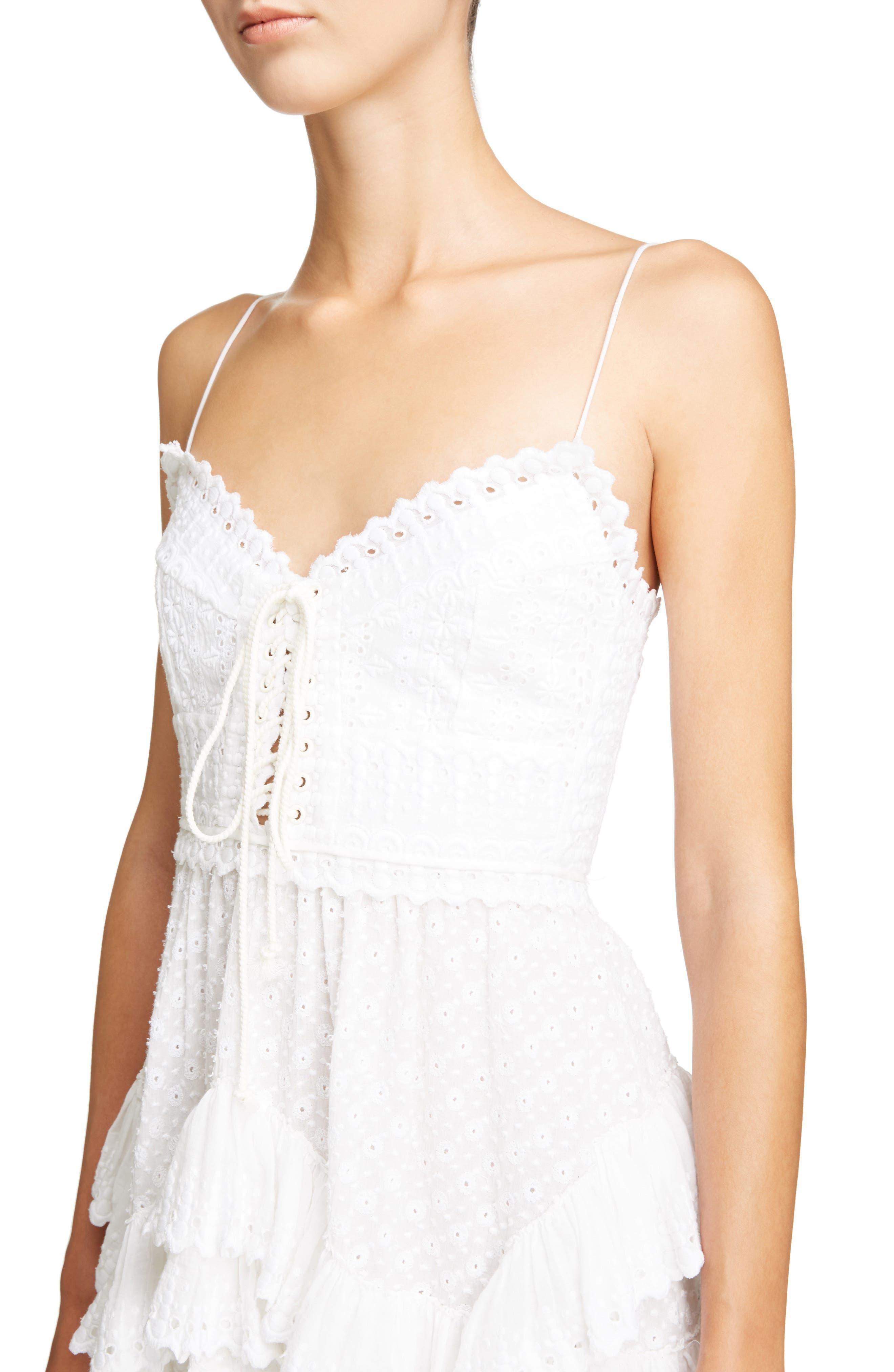 Ruffle Skirt Broderie Anglaise Dress,                             Alternate thumbnail 4, color,                             White
