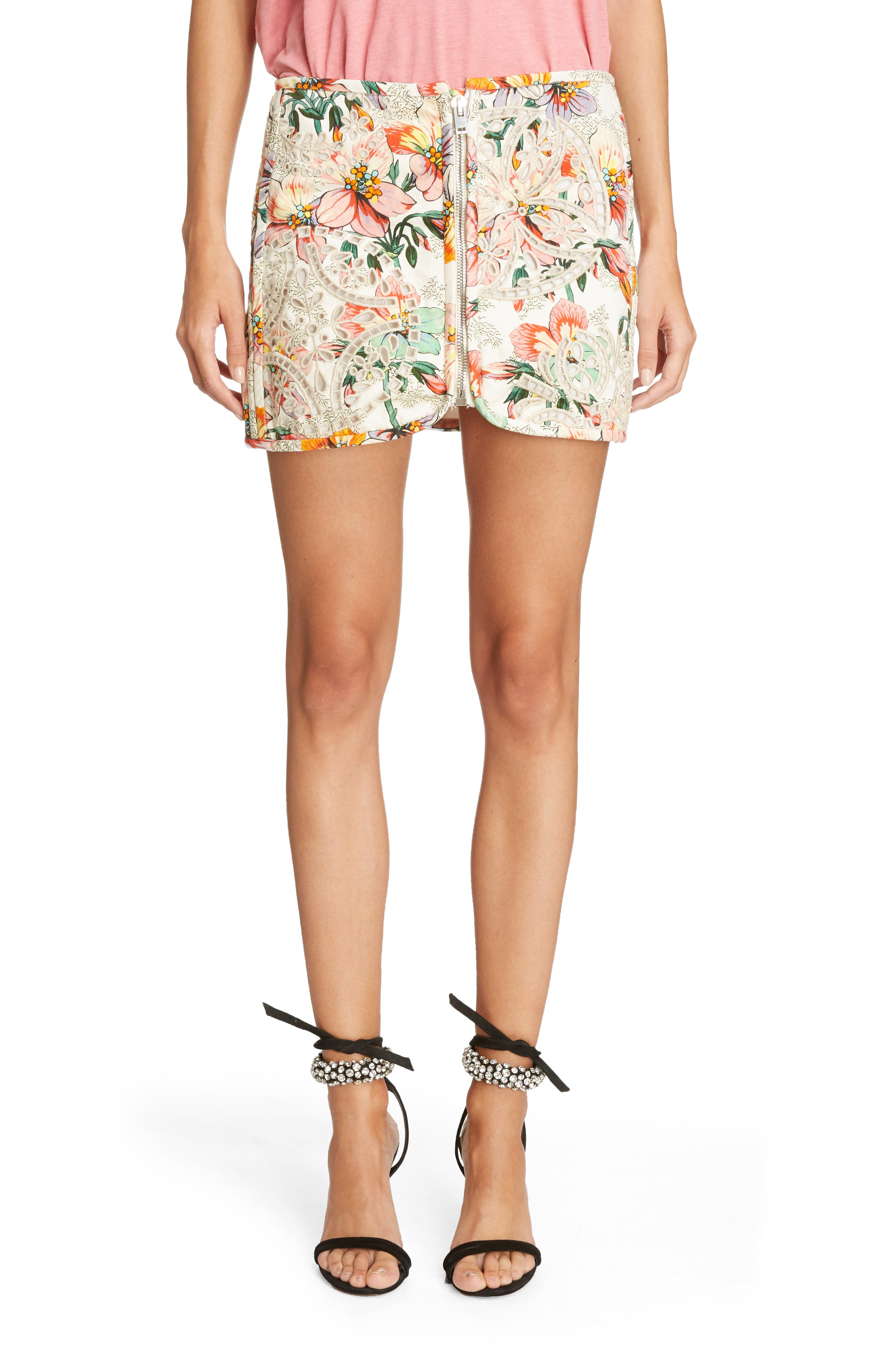Hawaiian Print Miniskirt,                         Main,                         color, Ecru
